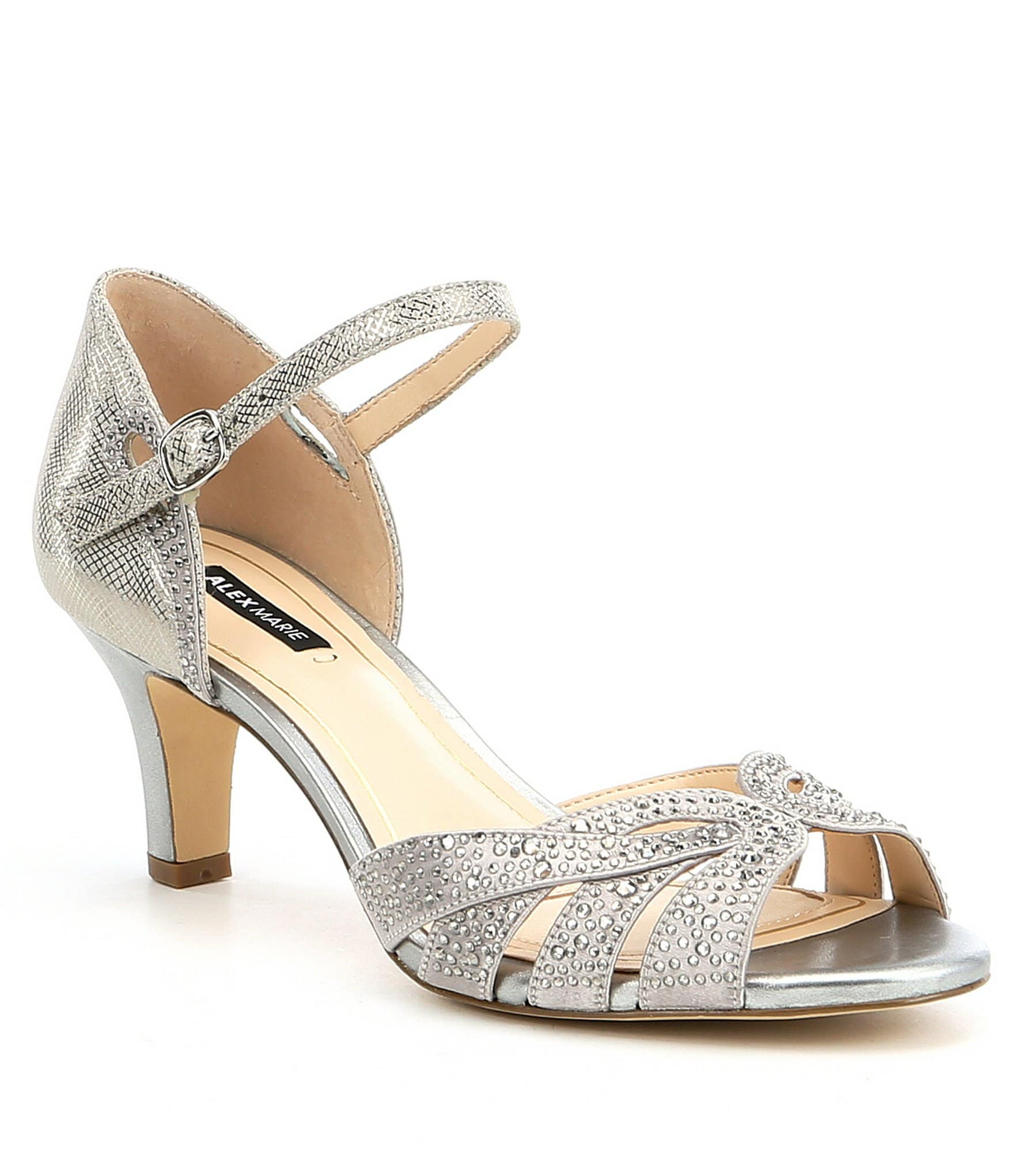 Alex Marie Mariane Satin Rhinestone Detail Dress Sandals
