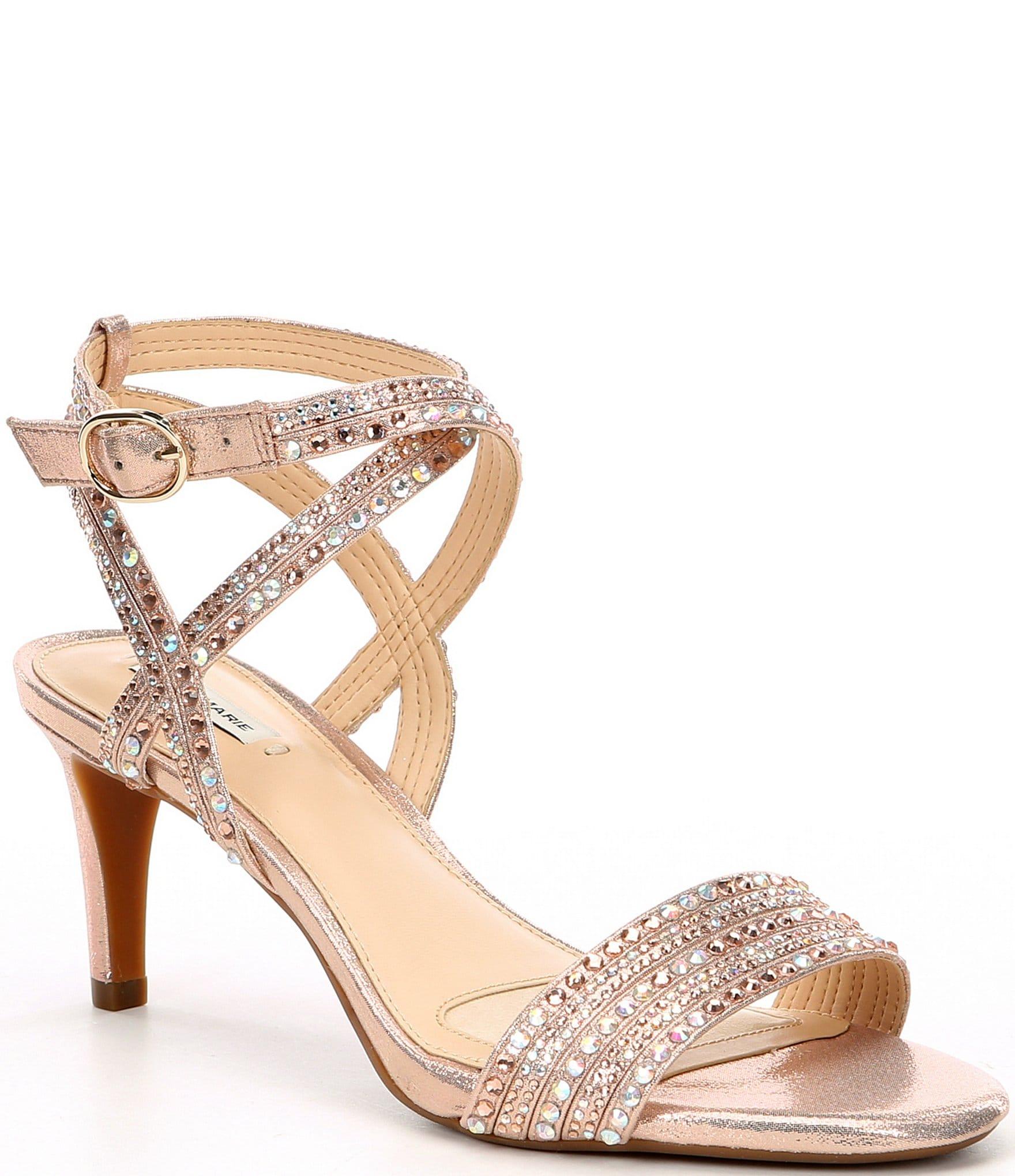 9bf2fe4ac8a65 Alex Marie Parlyn Shimmer Rhinestone Strappy Sandals