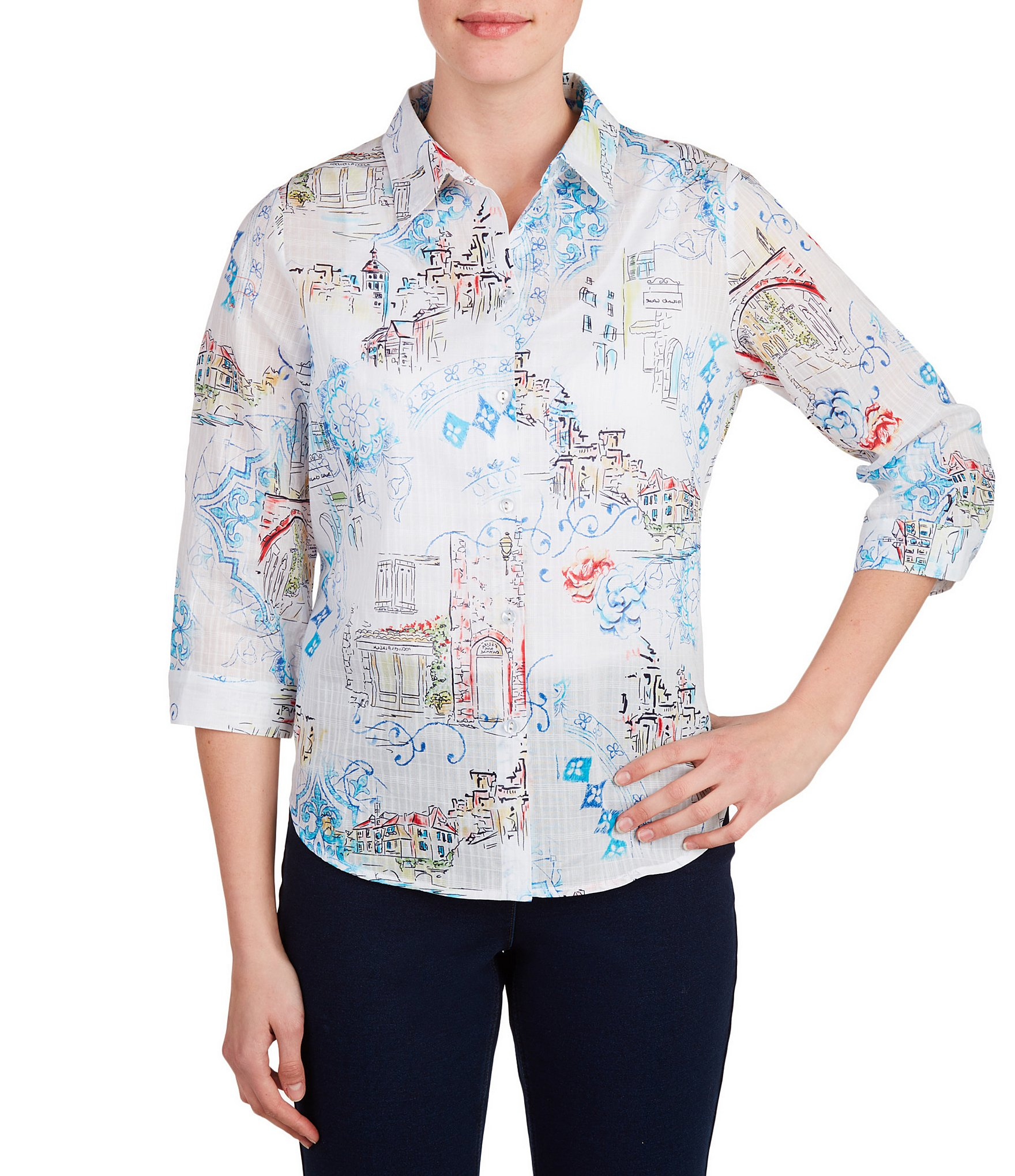 Allison daley petites 3 4 sleeve french scene print button for French cut shirt sleeve