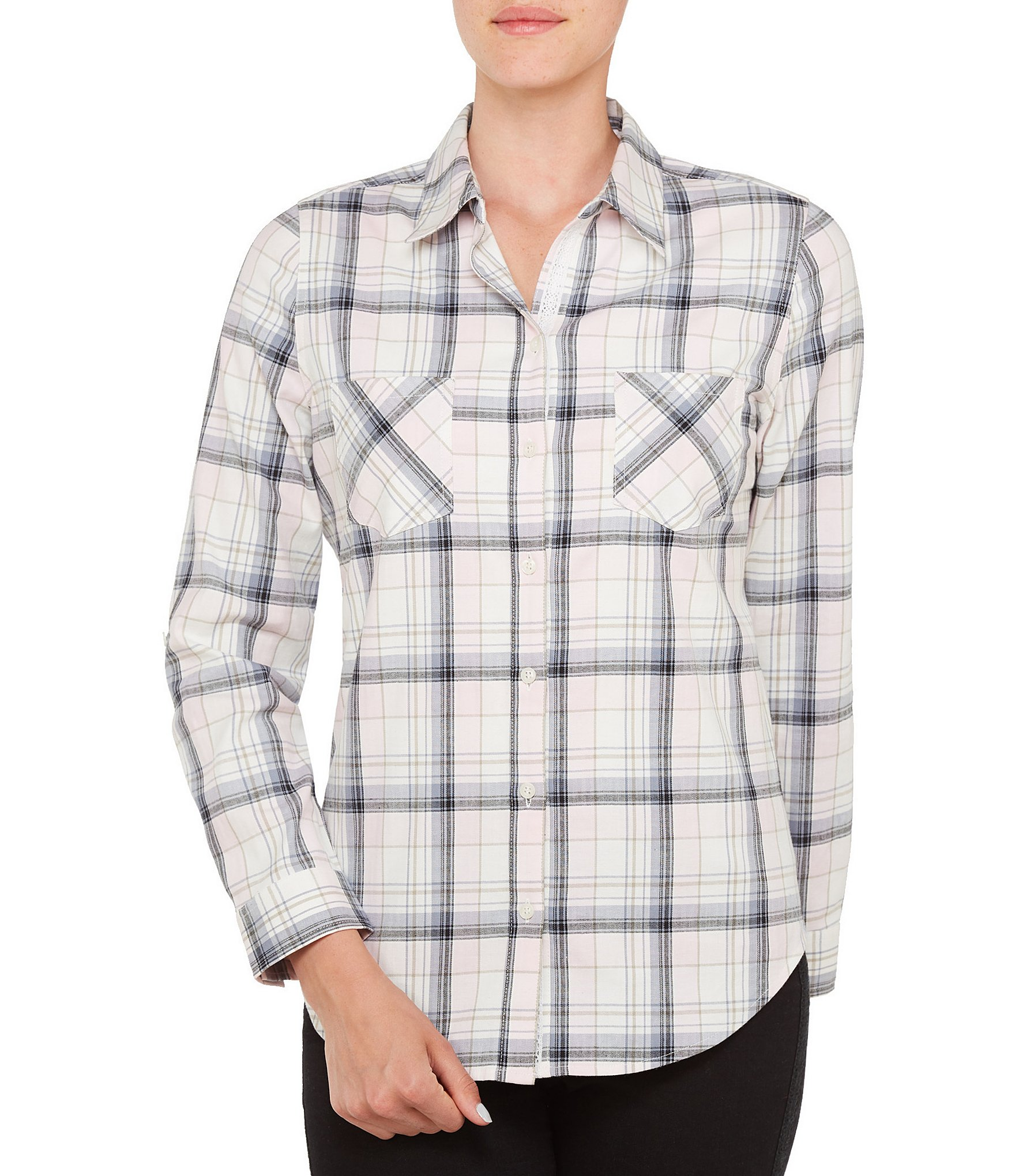 Allison Daley Roll Tab Sleeve Plaid Button Front Shirt