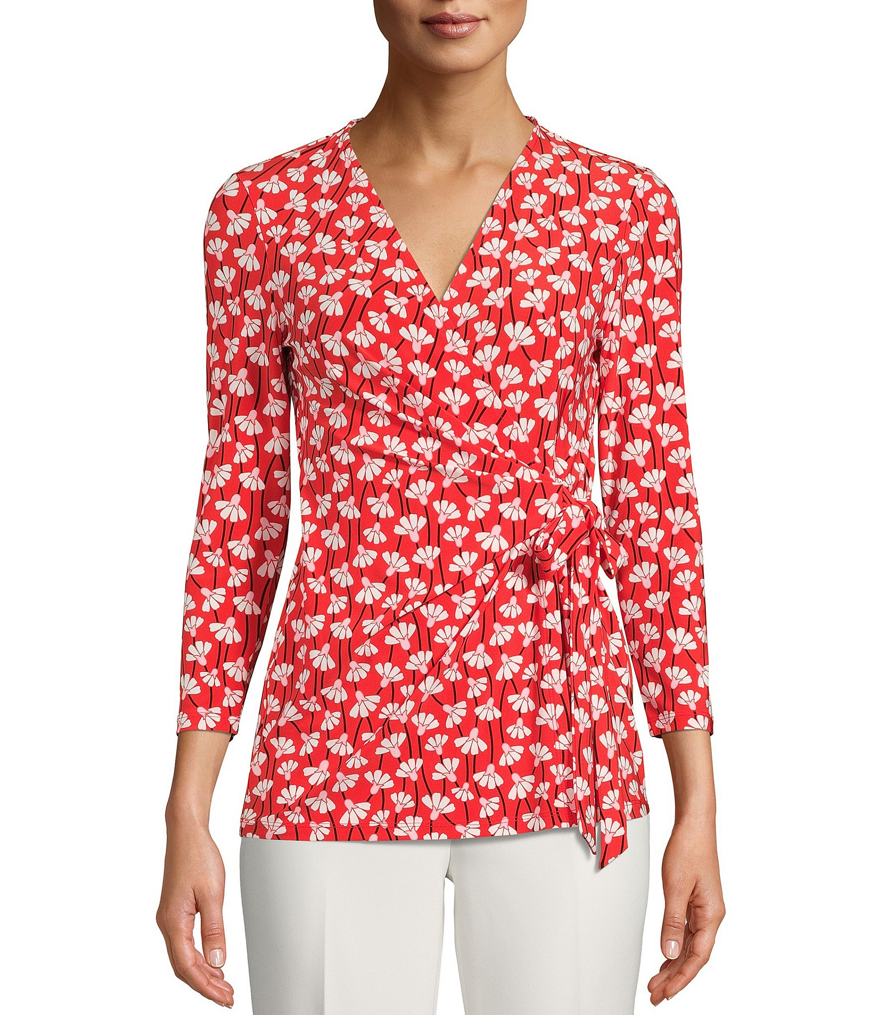 I.N.C Petite Ruffled Wrap Top MSRP $64.50 Size PM # 6C 497 NEW