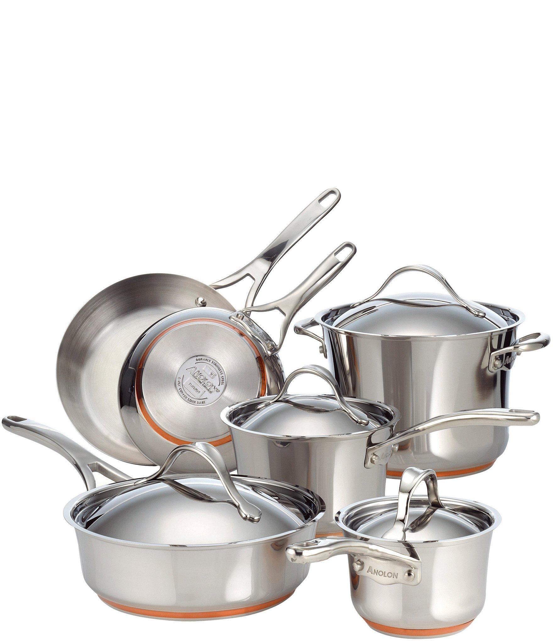 Anolon Nouvelle Copper Stainless Steel 10 Piece Cookware Set Dillard S