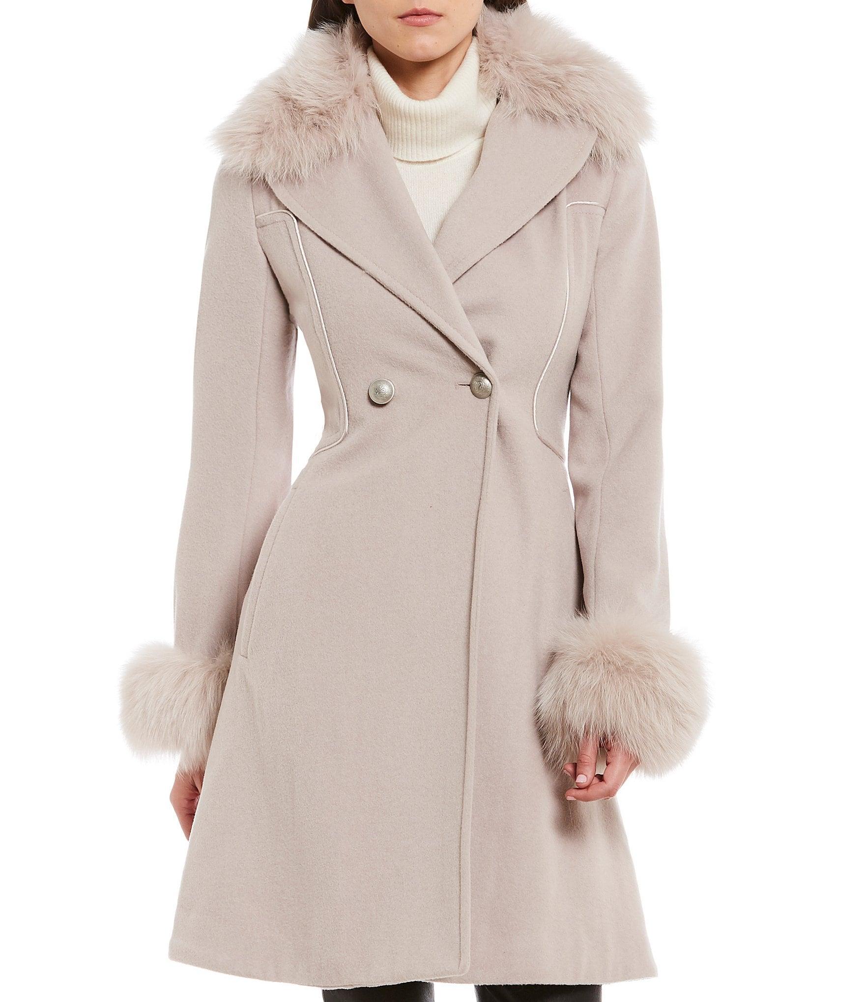 Antonio Melani Fit-and-Flare Fur Collar Wool Coat | Dillards