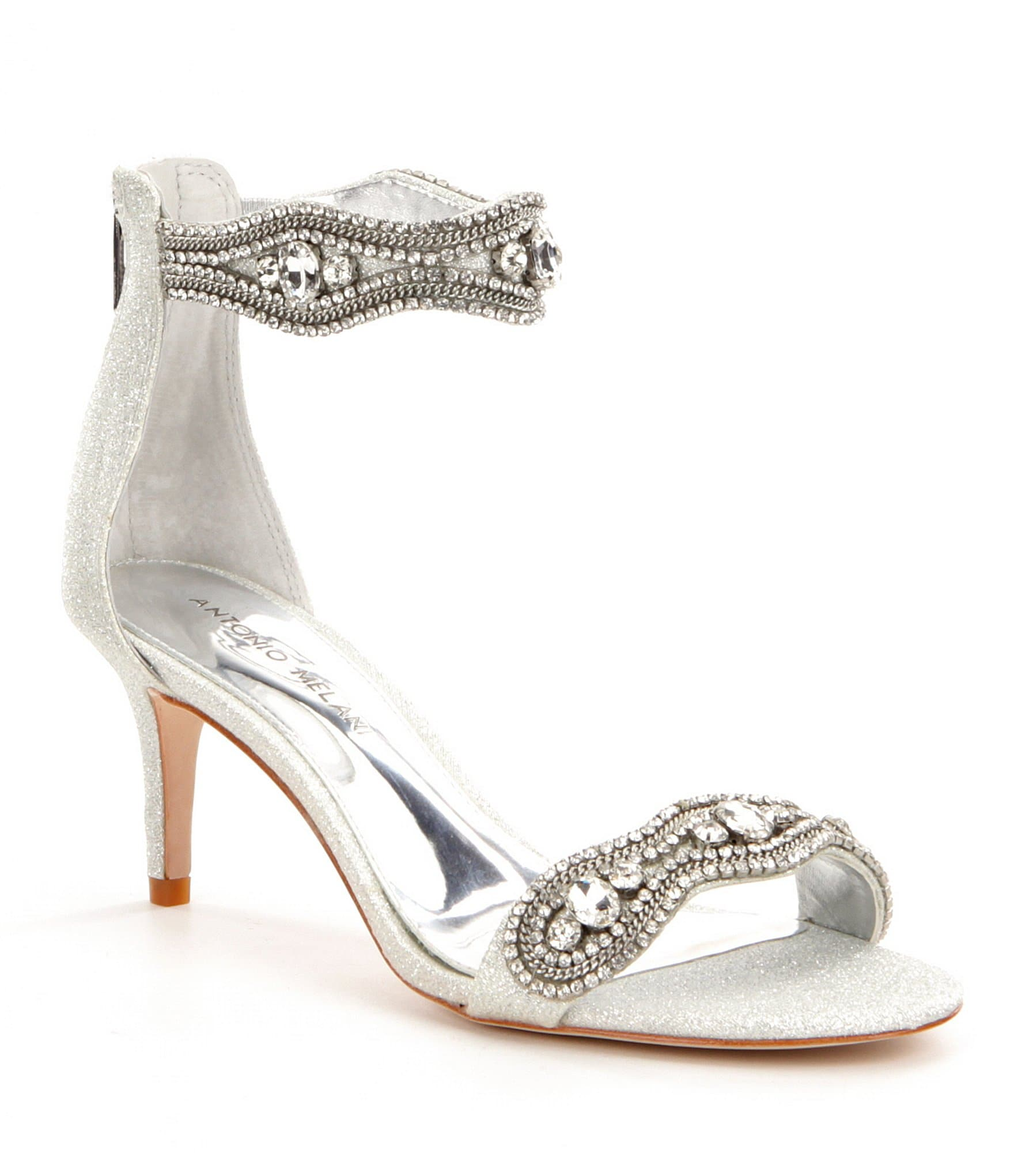silver shoes for wedding antonio melani sadina rhinestone embellished ankle 7443