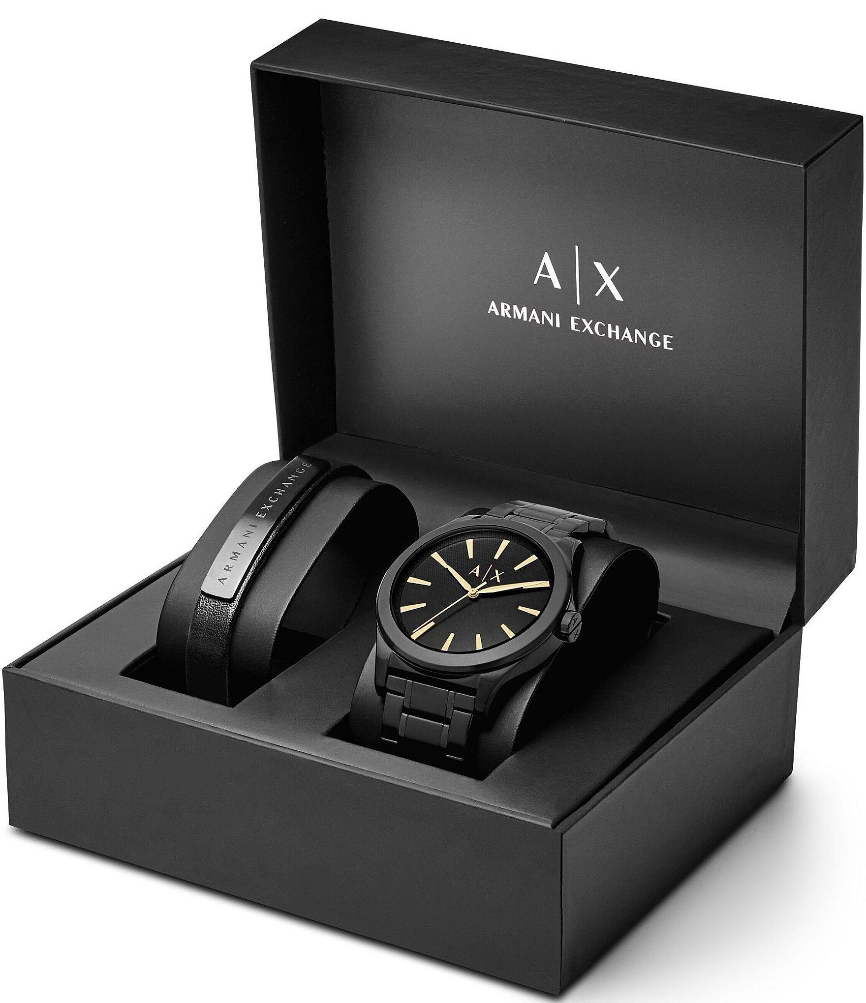 e105a23147ab7 Armani ExchangeAX Armani Exchange Analog Bracelet Watch & Leather Strap Set