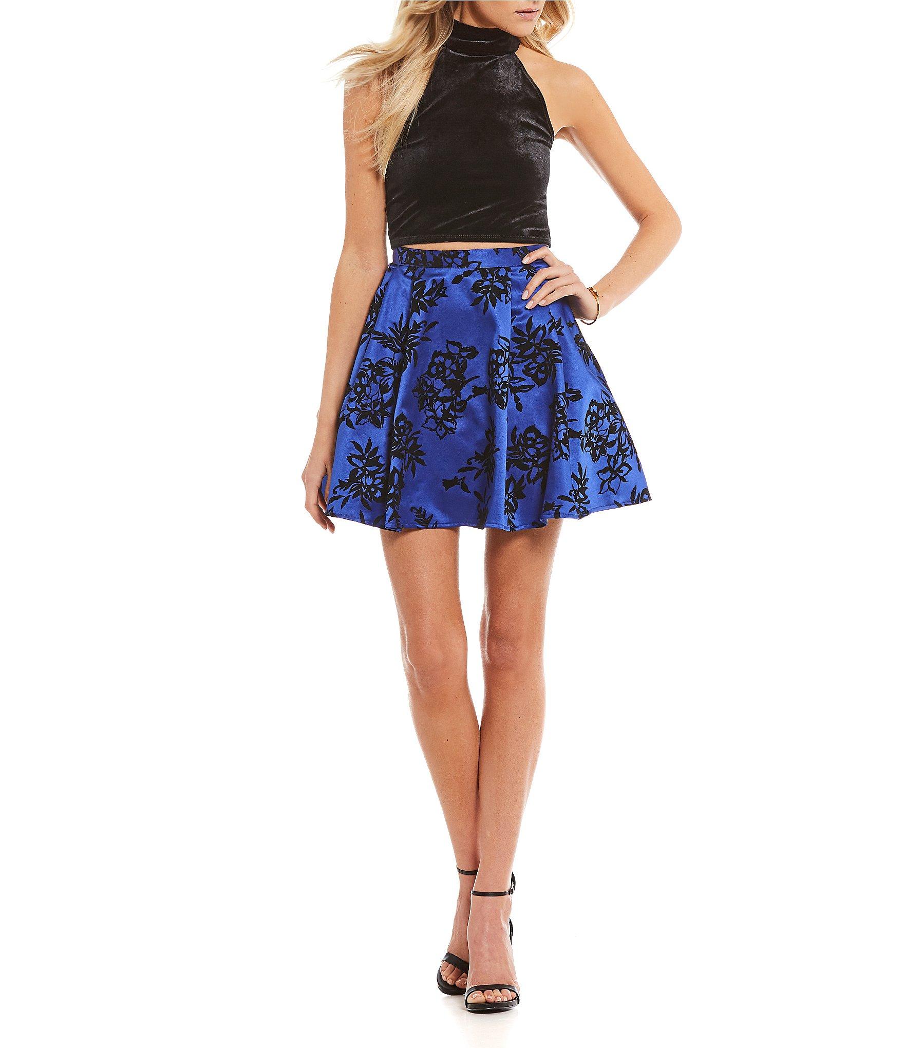 b darlin velvet top with flocked skirt two dress