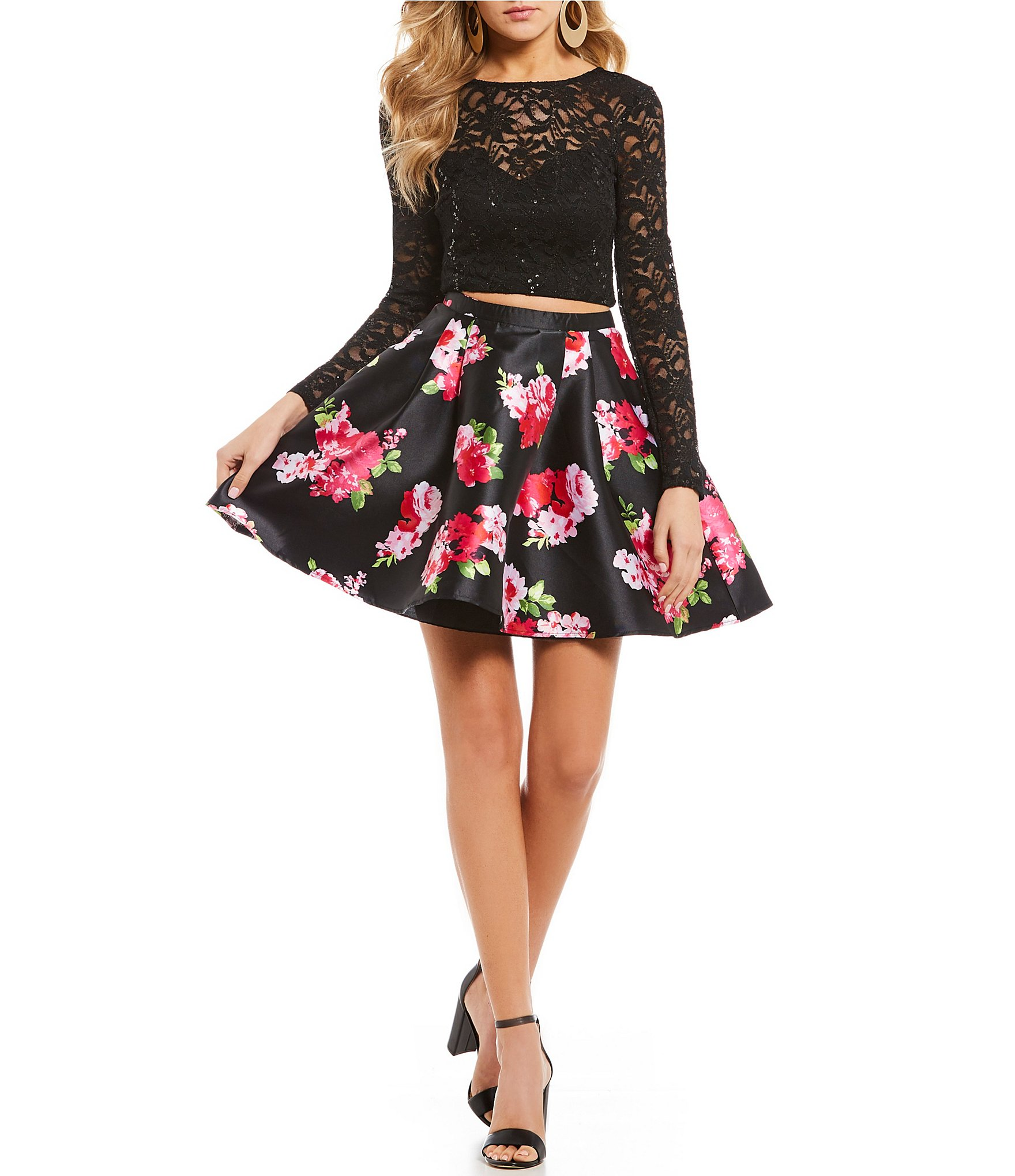 B. Darlin Sequin Lace Top with Floral Skirt Two-Piece