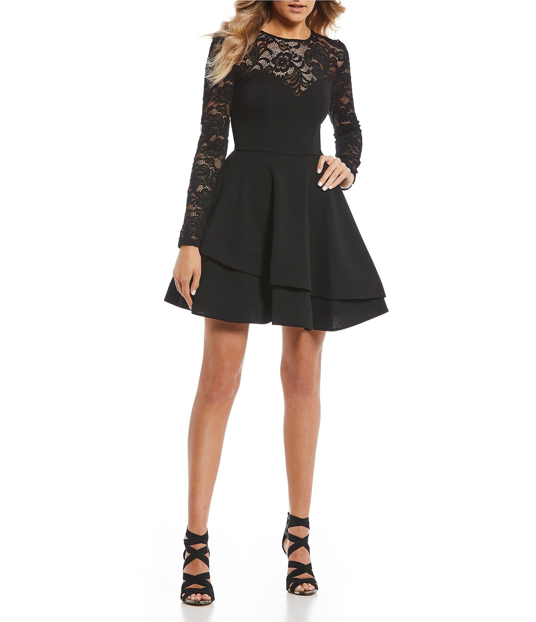 B. Darlin Long Sleeve Lace Double Hem Fit,and,Flare Dress