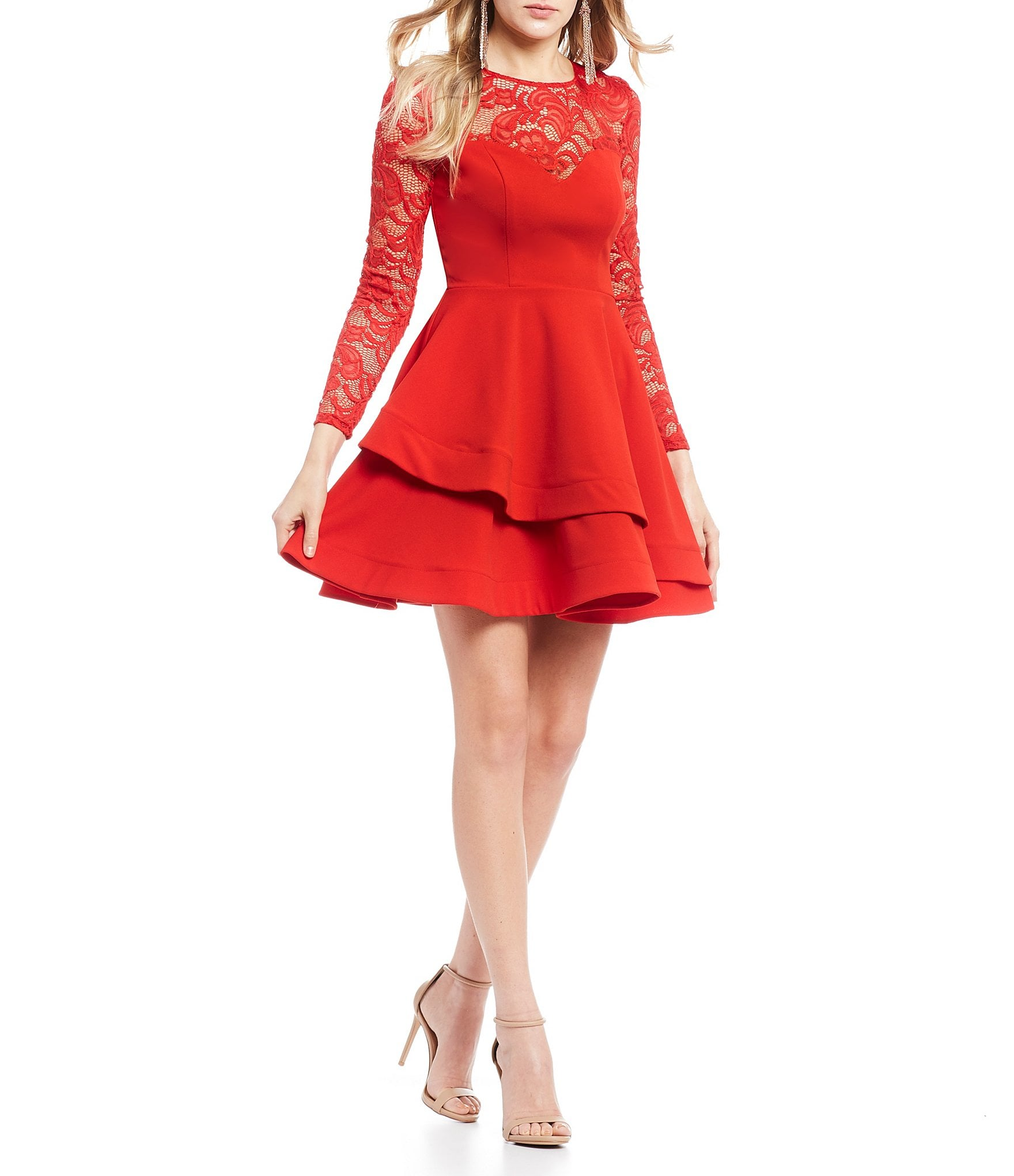 B Darlin Long Sleeve Lace Double Hem Fit And Flare Dress