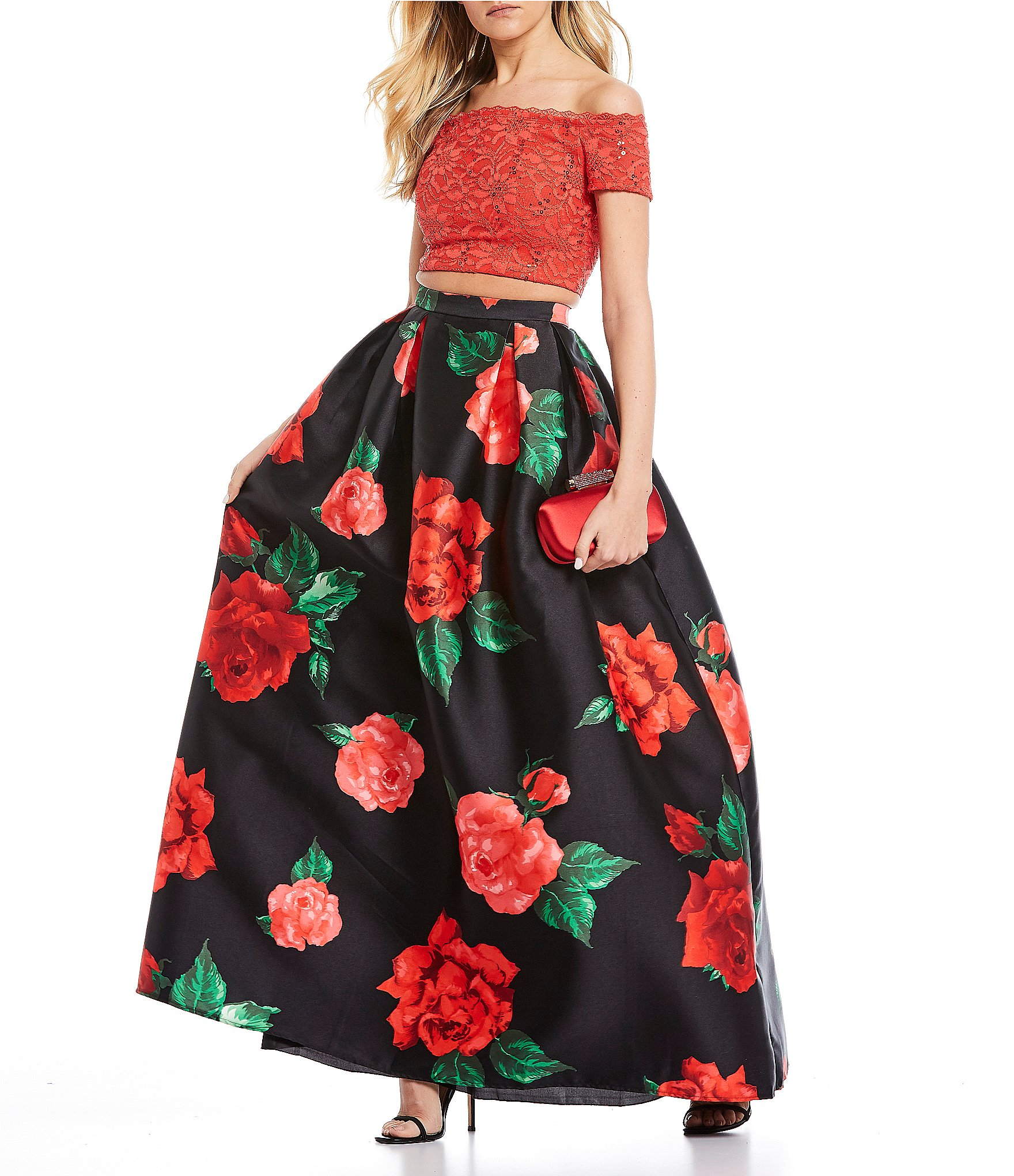B Darlin Off The Shoulder Lace Top With Floral Skirt Two Piece Ball Gown Dillard S