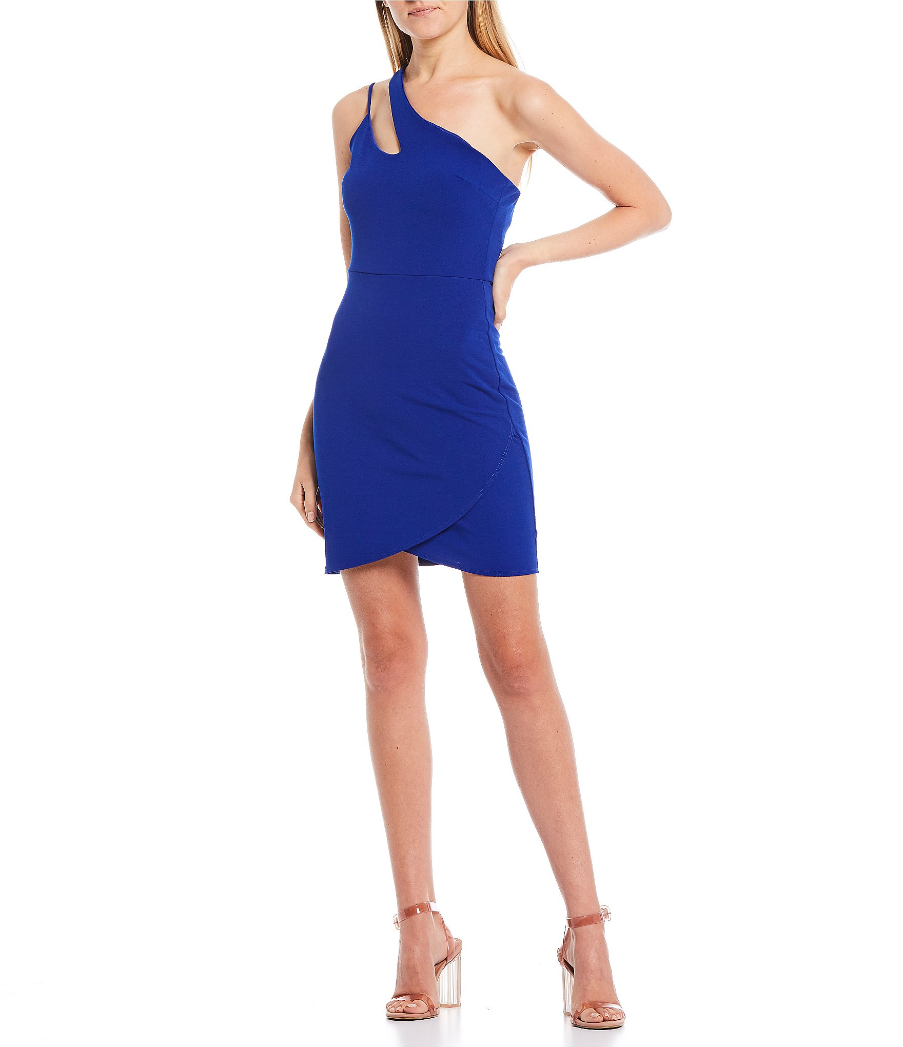 Womens One Shoudler Strapped Bodycon Dress