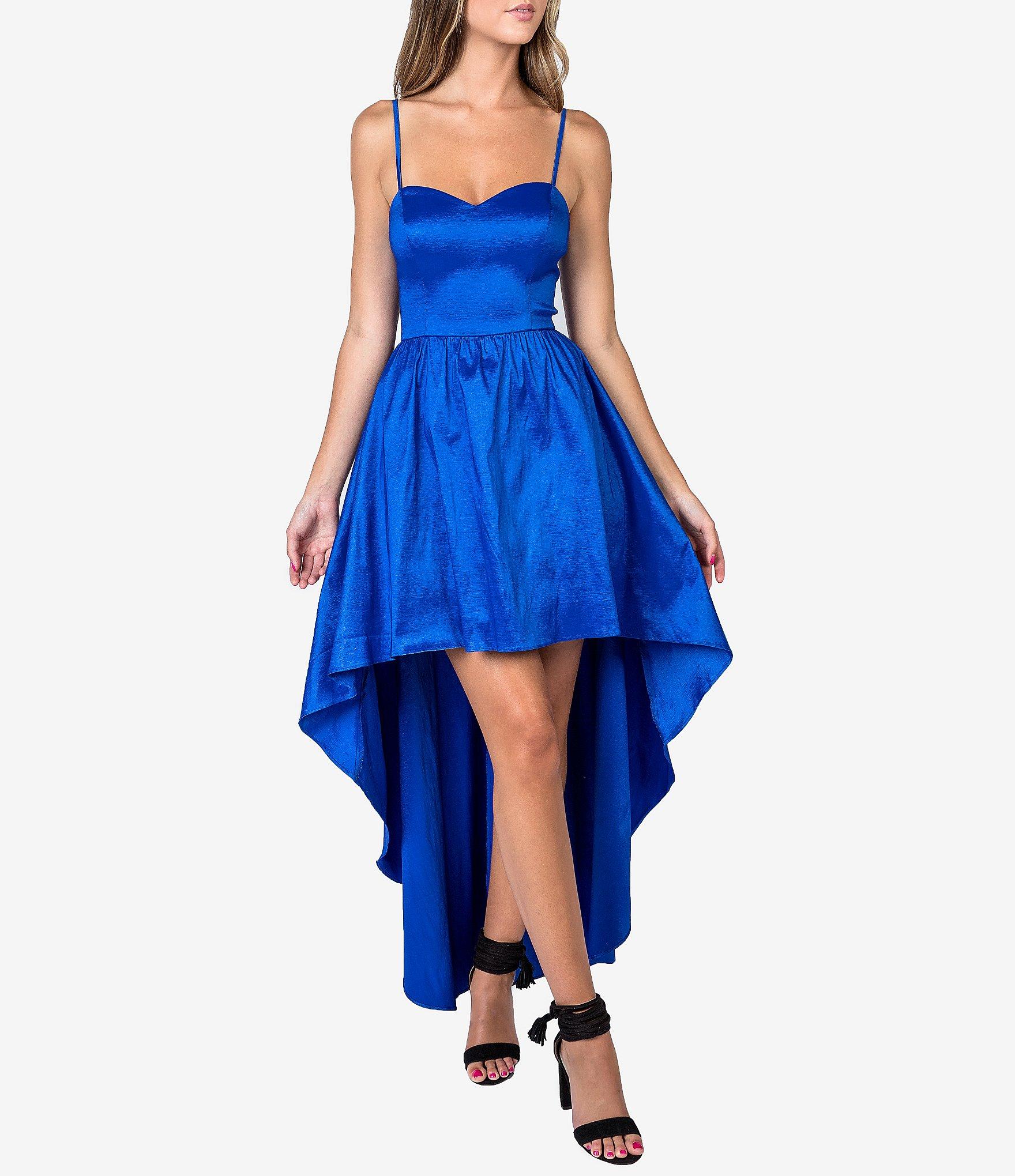 B. Darlin Spaghetti Strap Taffeta High-Low Long Dress