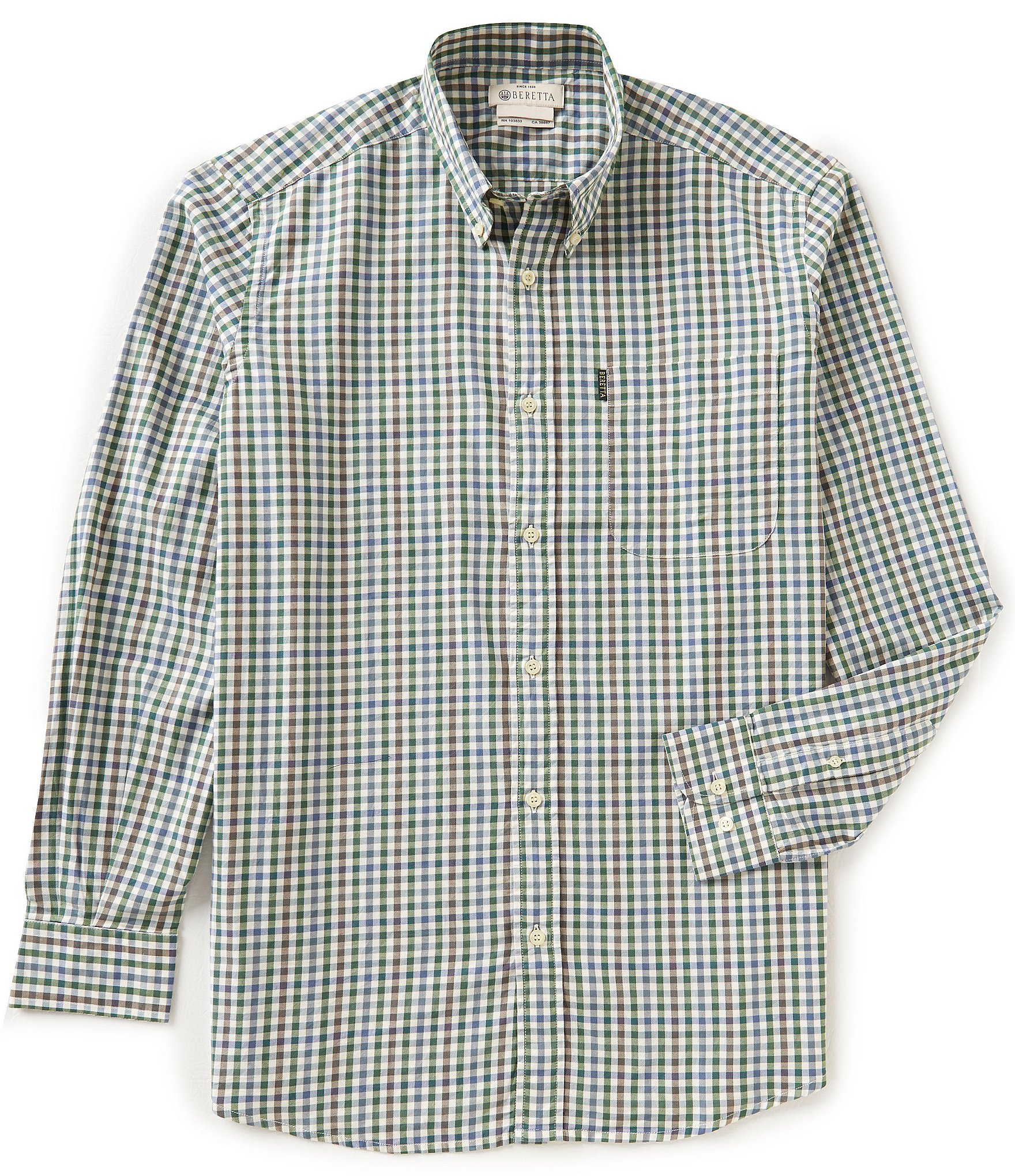 Beretta non iron drip dry classic check long sleeve shirt for What is a non iron shirt