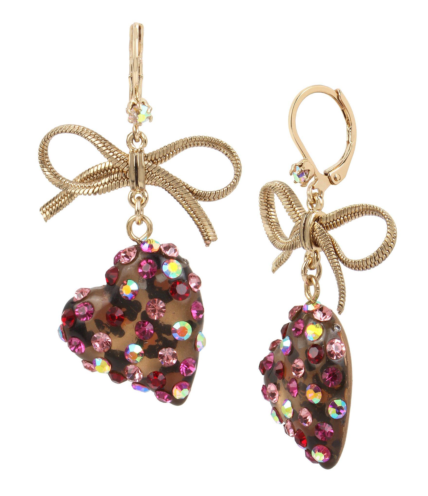 betsey johnson bow leopard heart drop earrings dillards