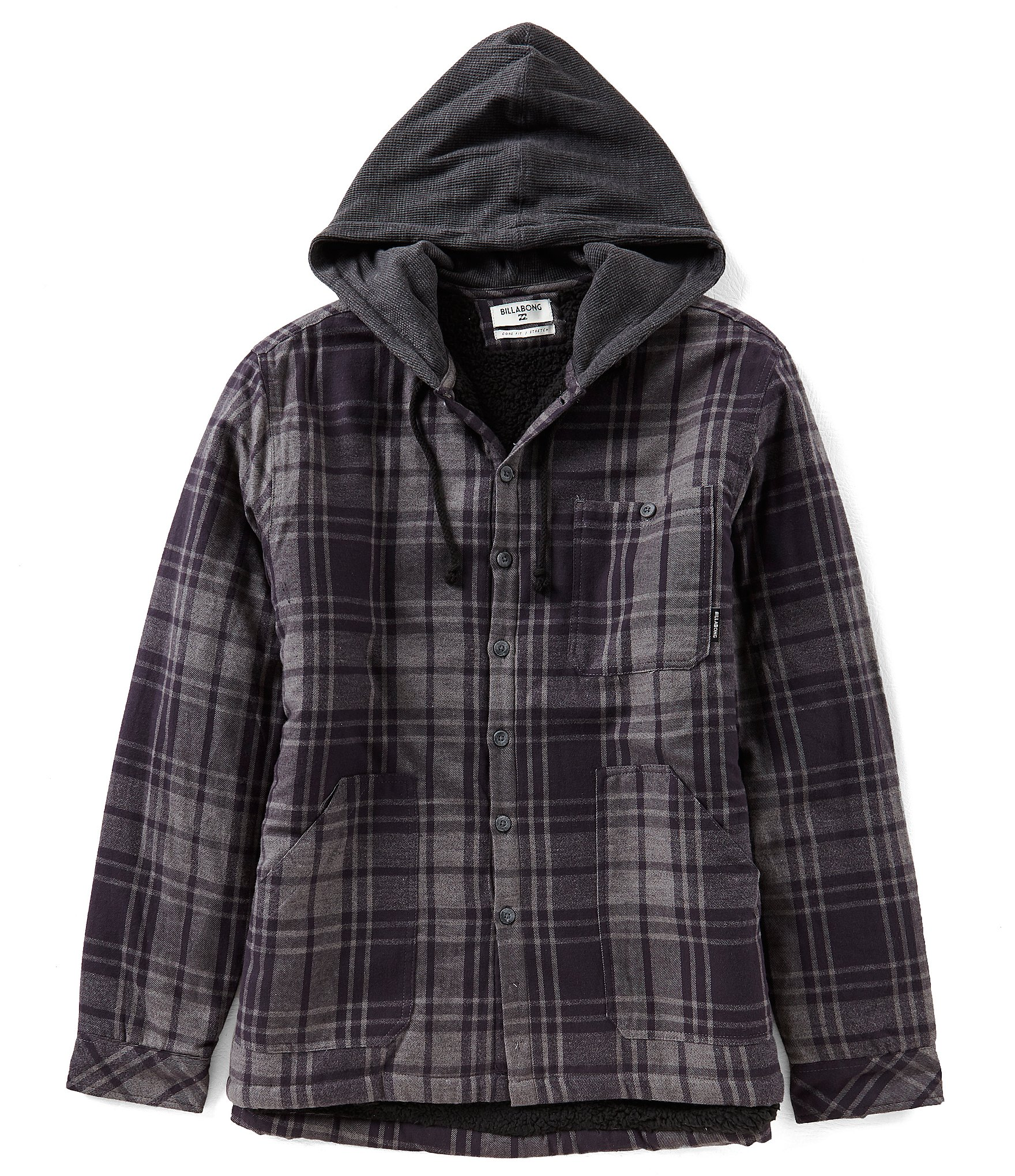 Billabong baja faux sherpa lined flannel hooded shirt for Polyester lined flannel shirts