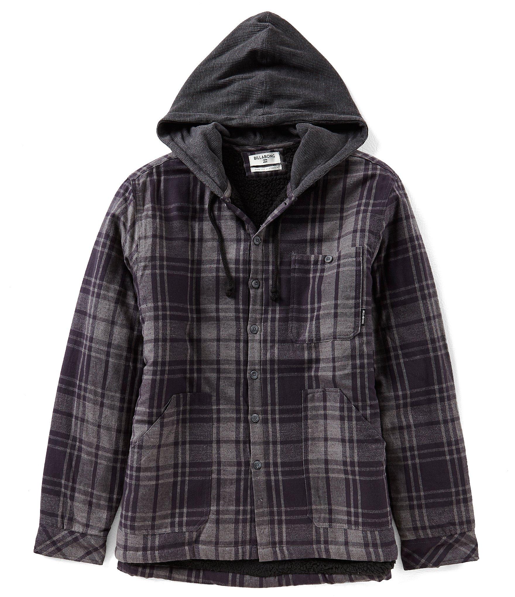 Billabong Baja Faux Sherpa Lined Flannel Hooded Shirt