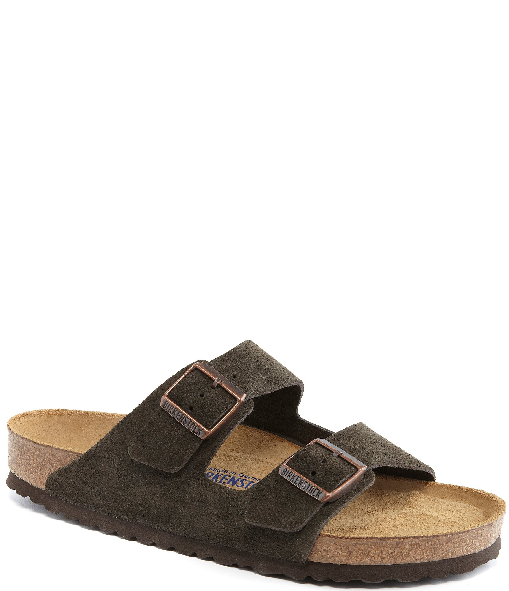 Suede Double Banded Slip On Sandals