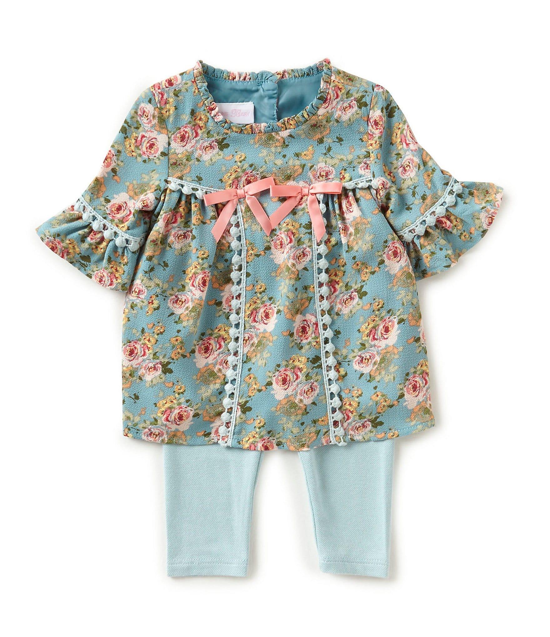 Bonnie Baby Baby Girls Newborn 24 Months Floral Printed A Line Dress Solid Leggings Set Dillards