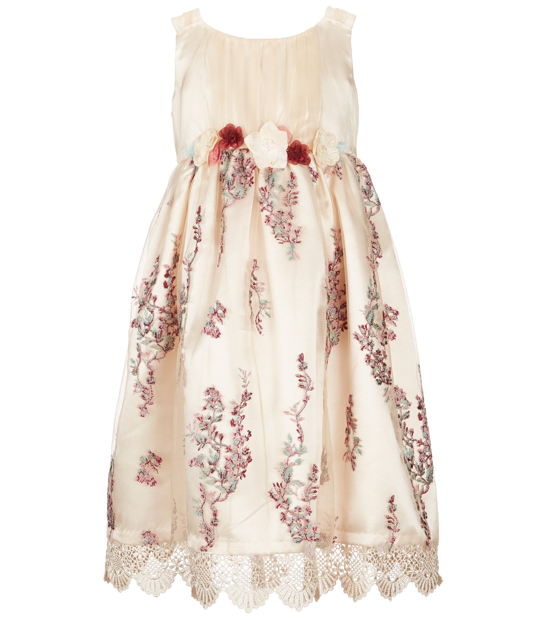 Bonnie Jean Little Girls 2T 6X Sleeveless Embroidered Mesh