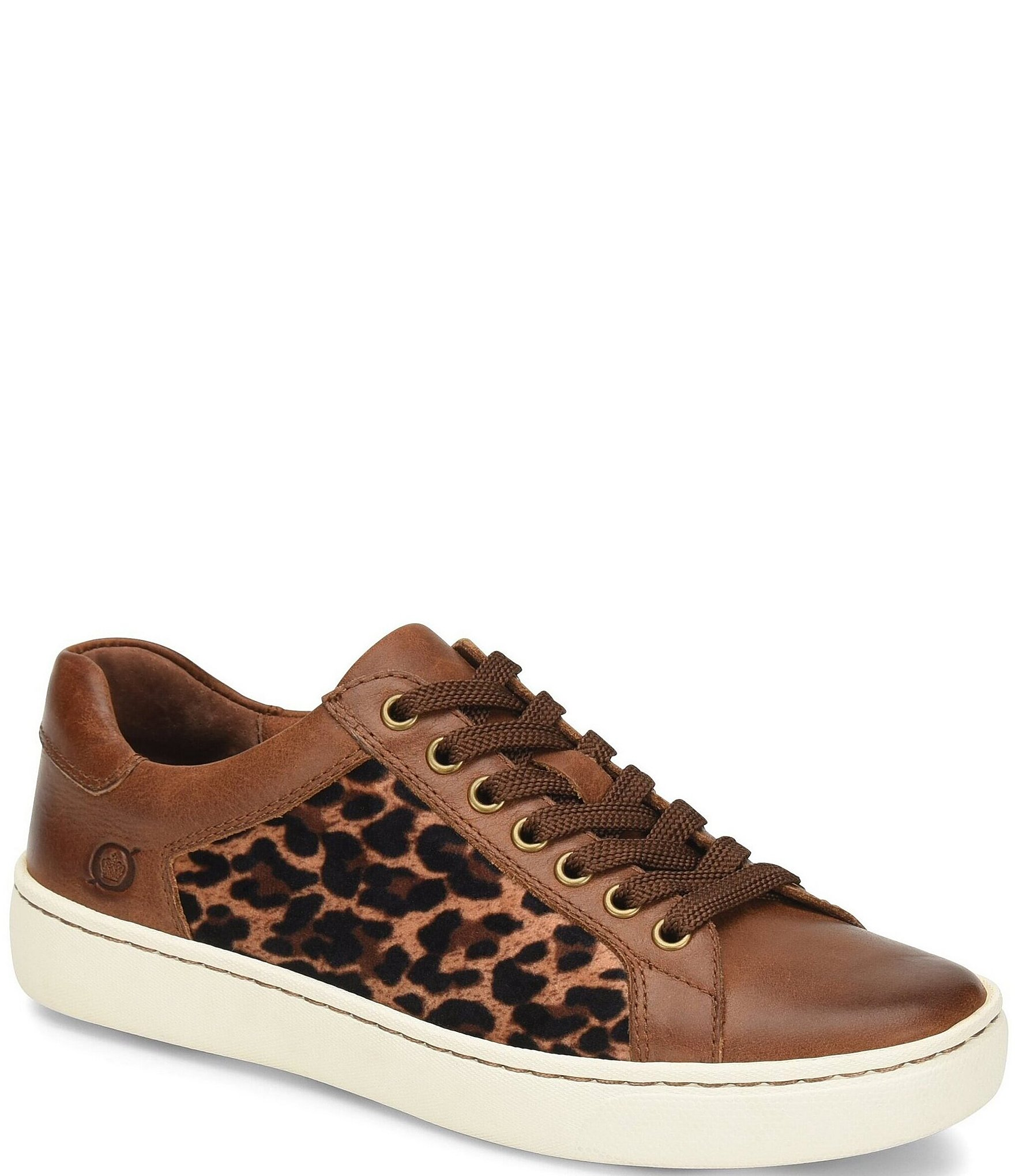 29557d85baa Born Sur Leather Leopard Print Fabric Sneakers