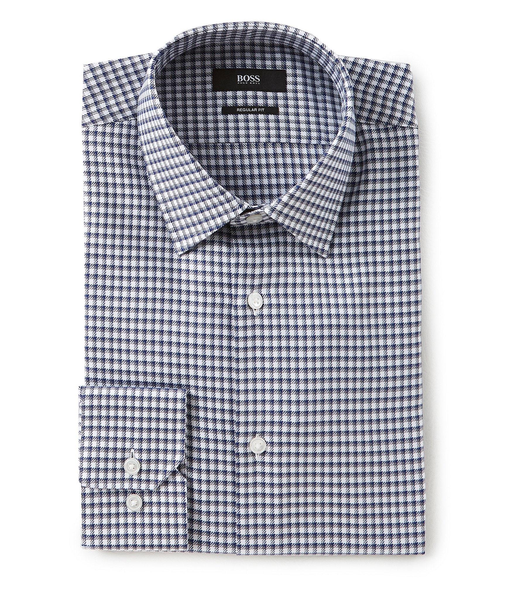 Boss hugo boss regular fit spread collar checked dress for Hugo boss dress shirt review