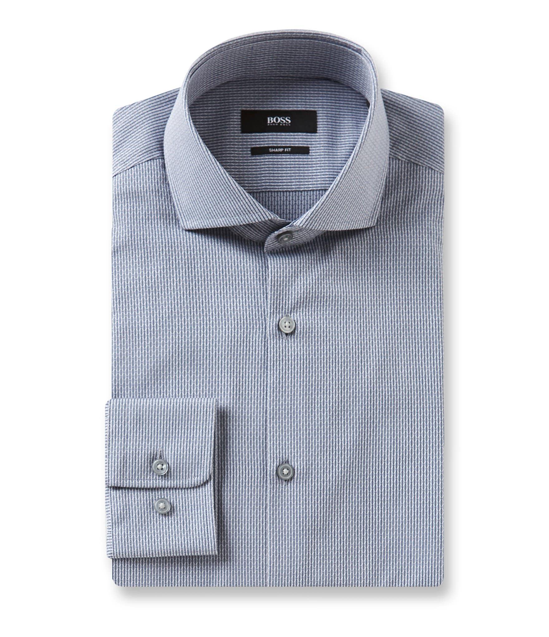 Boss hugo boss sharp fit spread collar diamond textured for Hugo boss dress shirt review