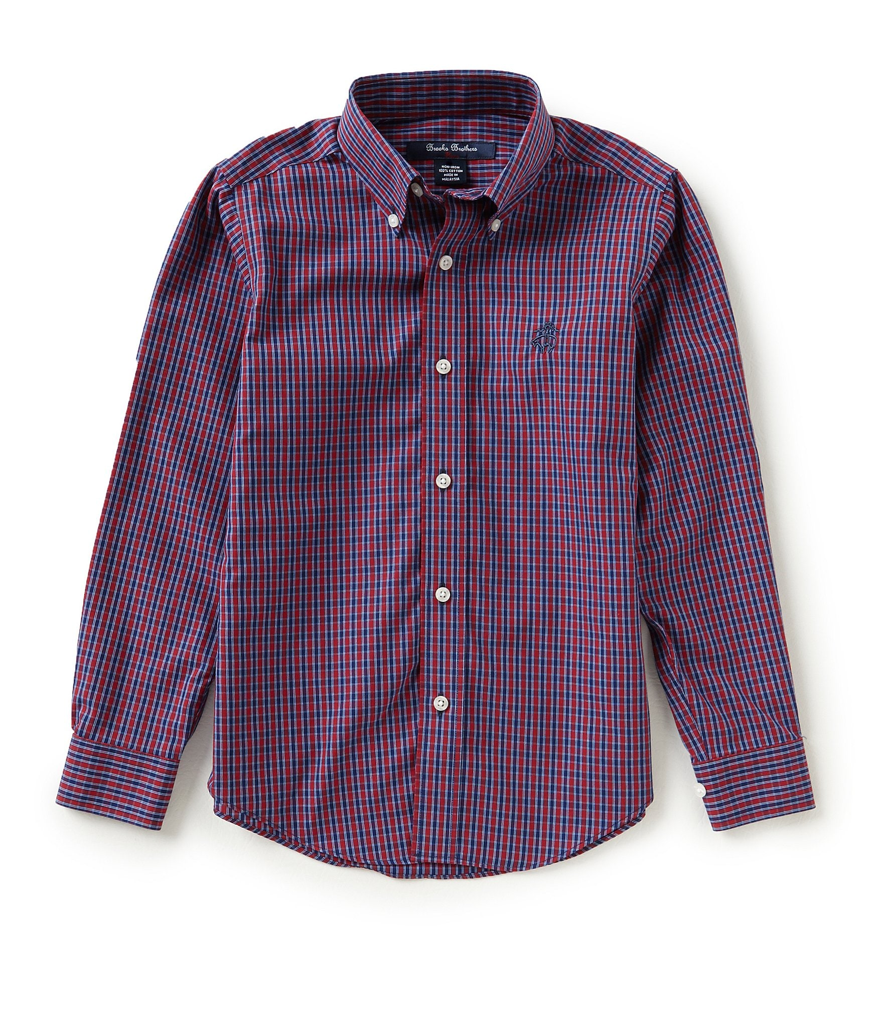 Brooks brothers little big boys 4 20 mini tattersal button for Brooks brothers boys shirts