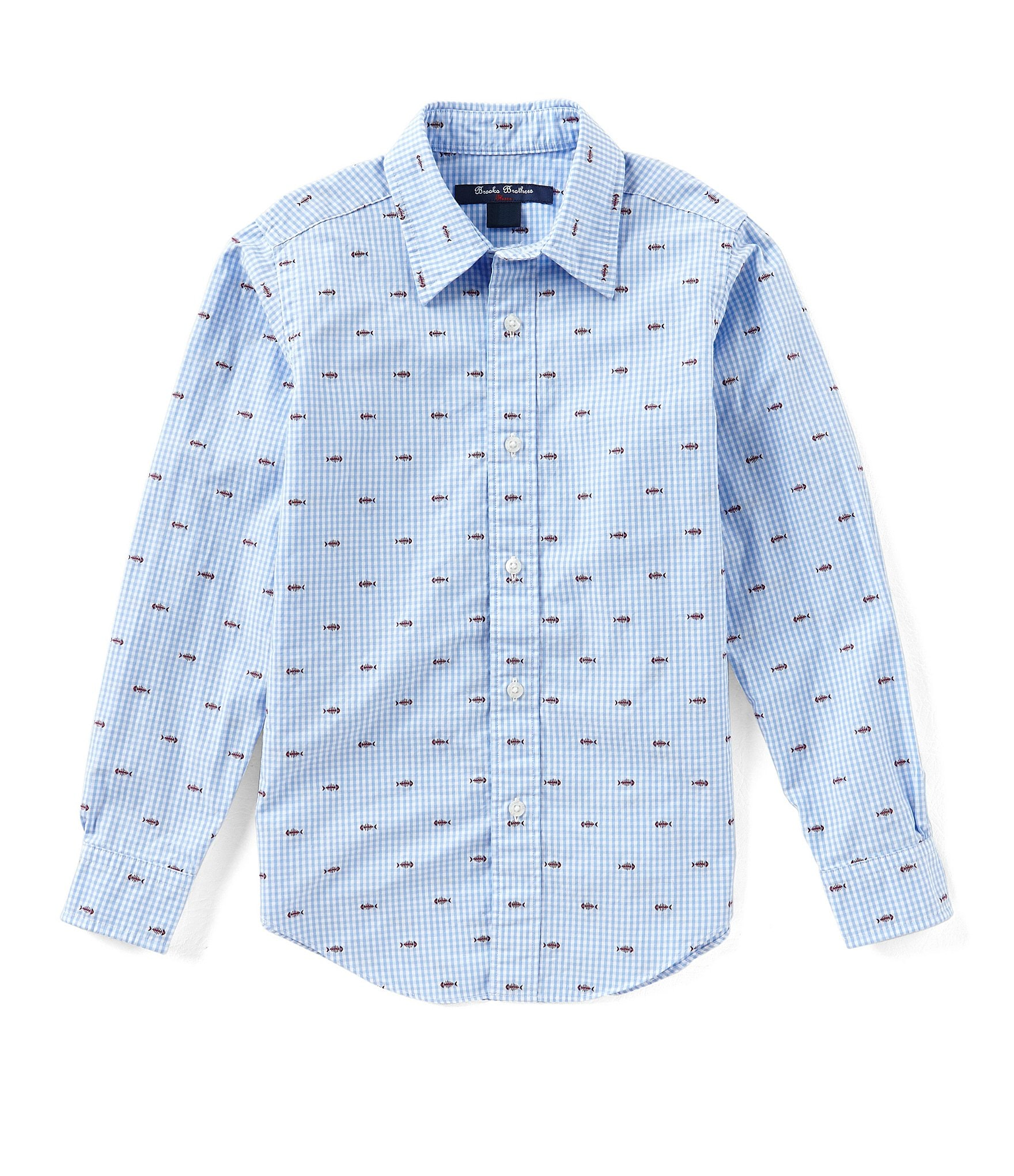 Brooks brothers little big boys 4 20 button down fish for Brooks brothers boys shirts