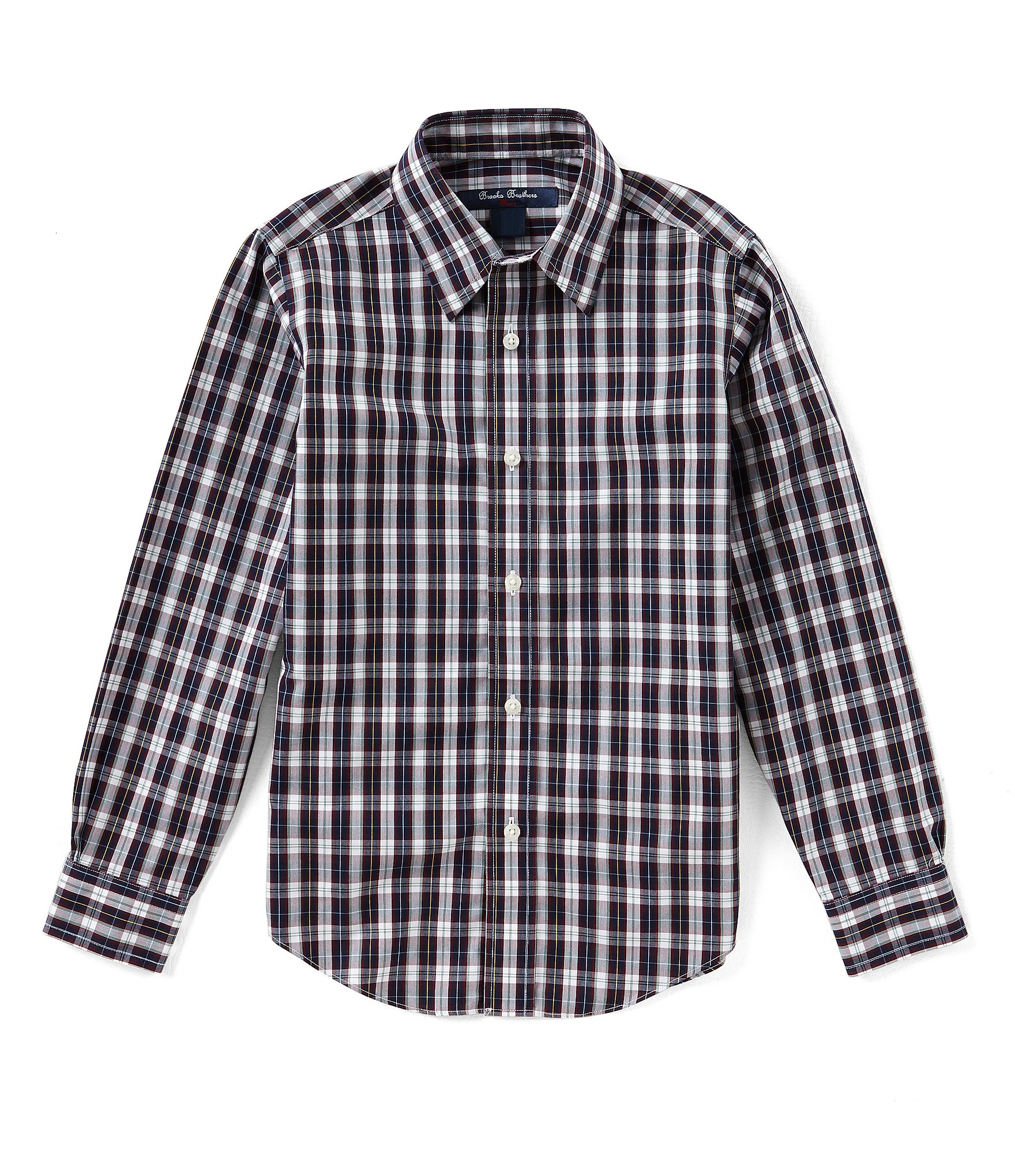 Brooks brothers little big boys 4 20 button down plaid for Brooks brothers boys shirts