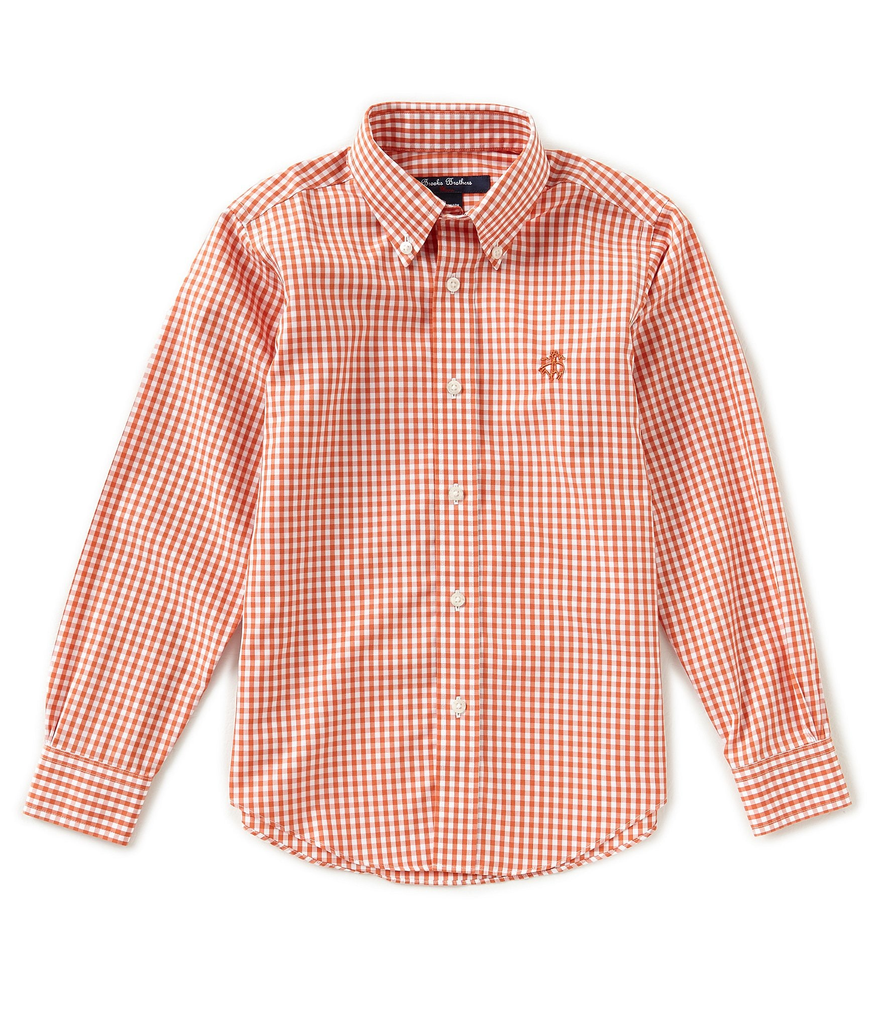 Brooks brothers little big boys 4 20 gingham button front for Brooks brothers boys shirts