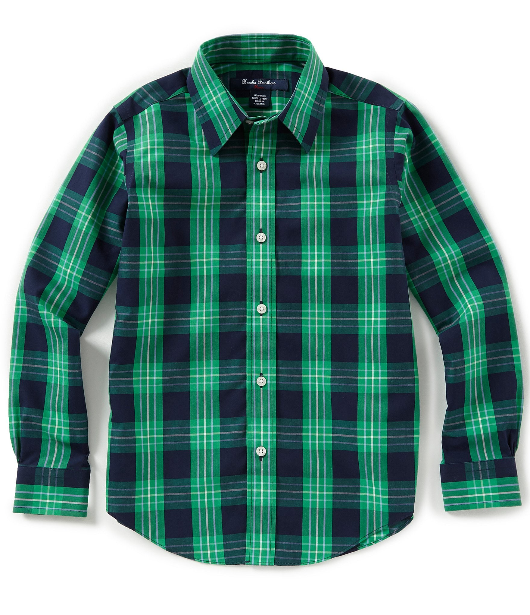 Brooks brothers little big boys 4 20 outlined plaid non for Brooks brothers non iron shirt review
