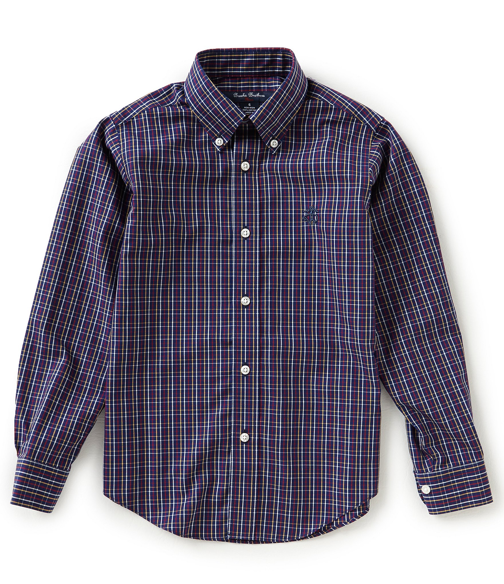 Brooks brothers little big boys 4 20 windowpane button for Brooks brothers boys shirts