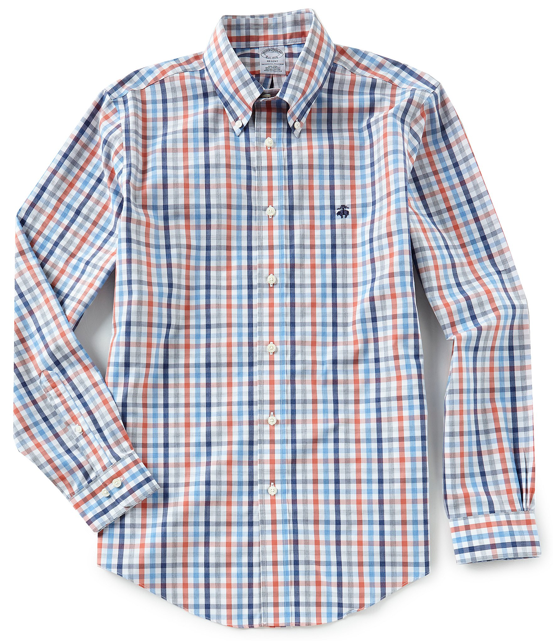 Brooks brothers non iron gingham regent fit yarn dye long for Brooks brothers non iron shirt review