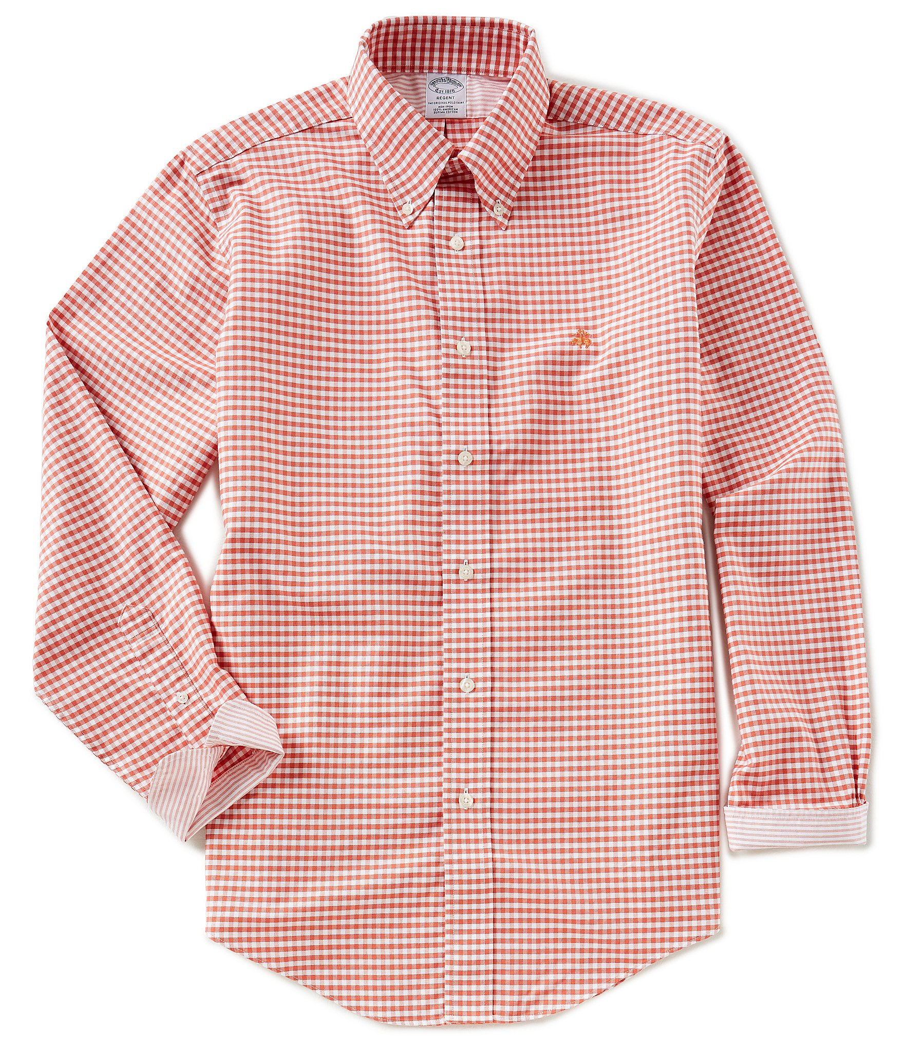 Brooks brothers non iron regent fit gingham oxford long for Brooks brothers non iron shirt review