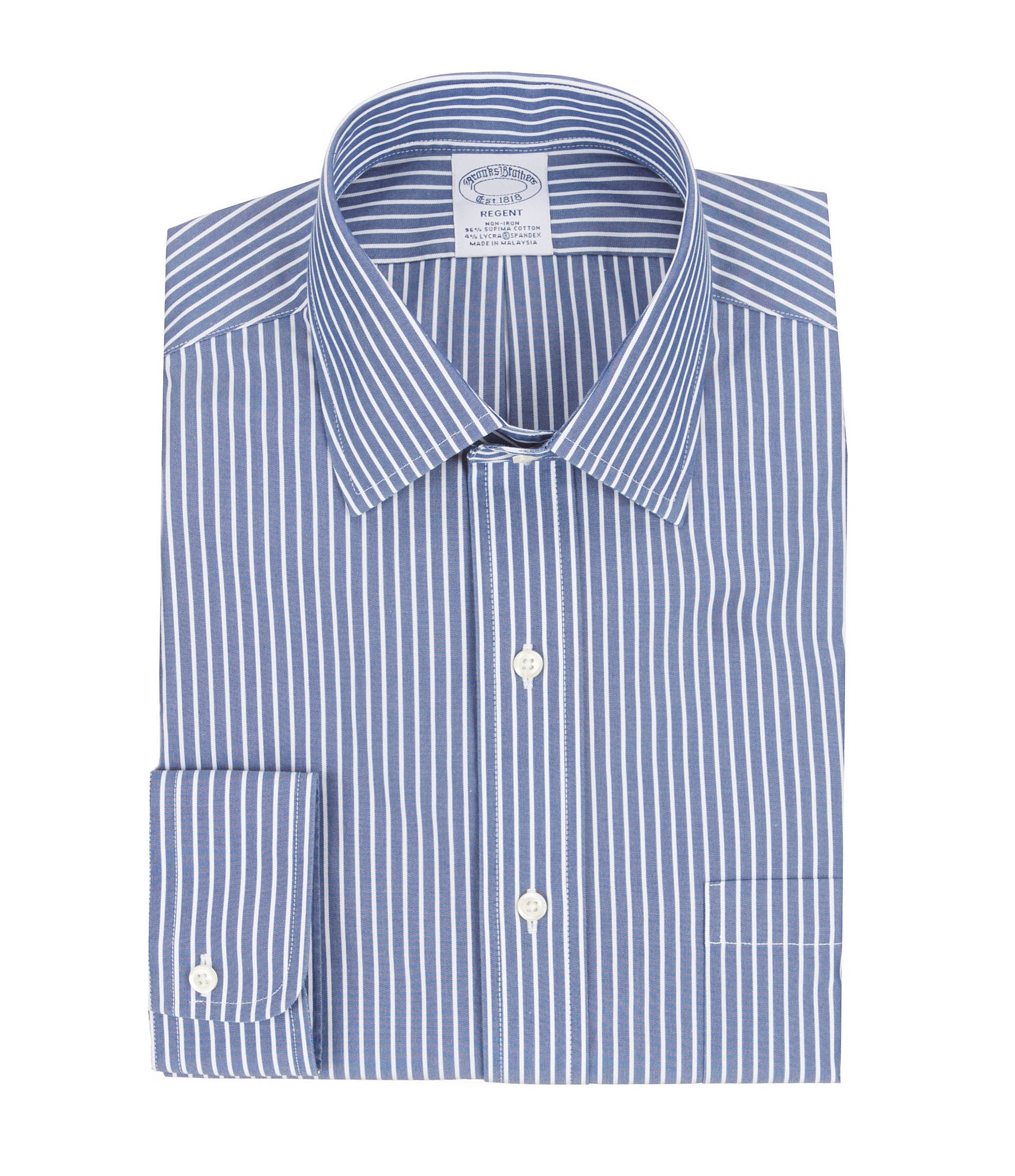 Brooks brothers non iron regent fit spread collar striped for Brooks brothers non iron shirt review