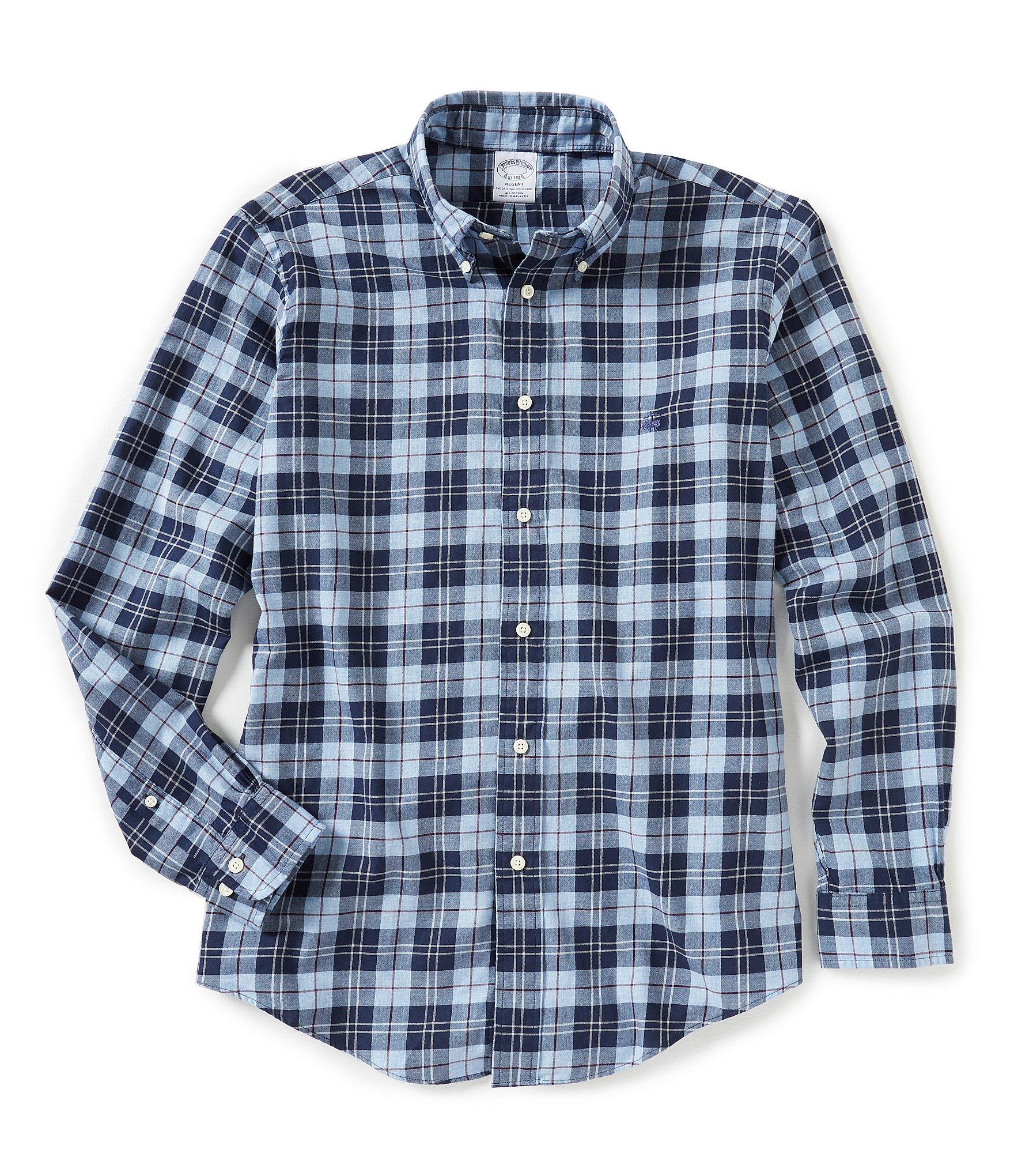 Brooks brothers regent fit lightweight flannel plaid long for Lightweight plaid shirt womens