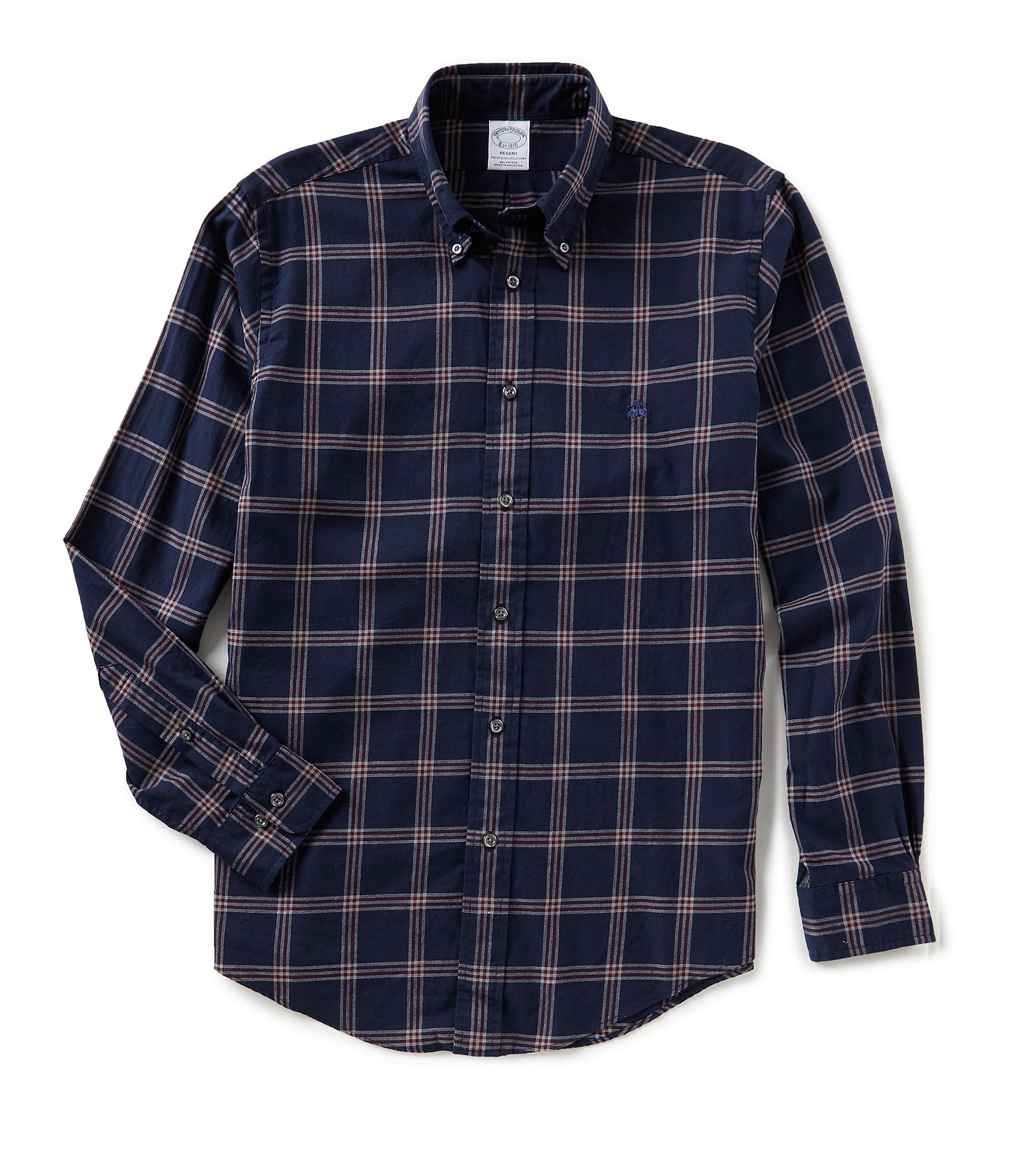 Brooks brothers regent fit lightweight flannel windowpane Brooks brothers shirt size guide