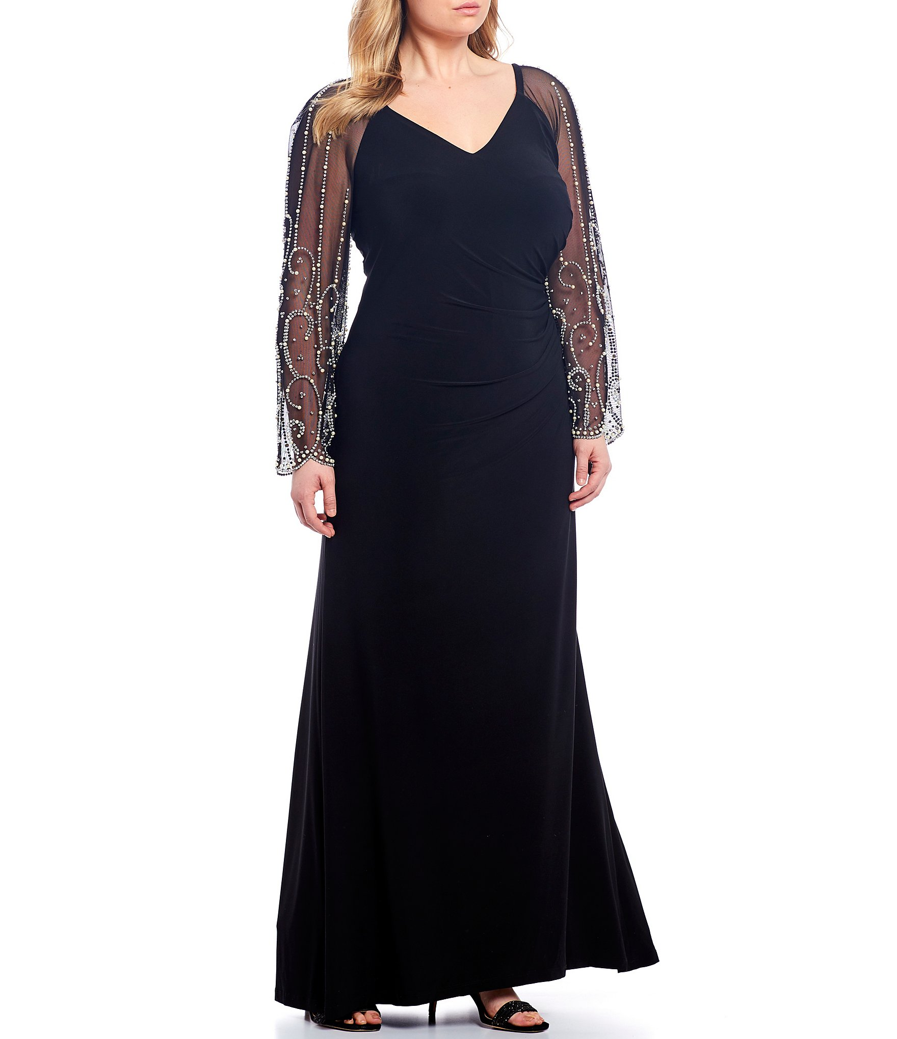Cachet Plus Size Beaded Matte Jersey Long Sleeve Gown
