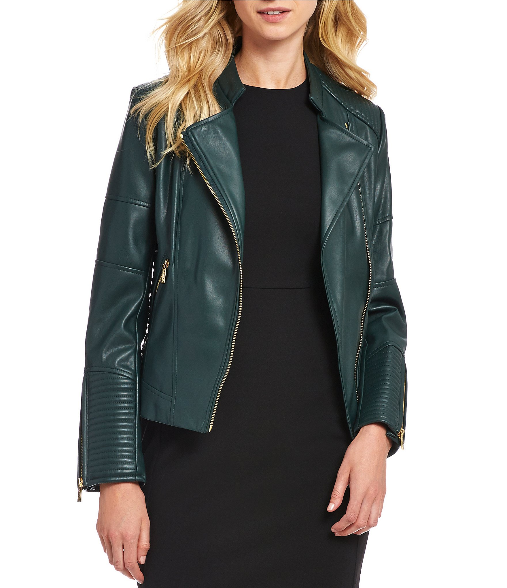 Calvin Klein Faux Leather Quilt Stitch And Seamed Moto