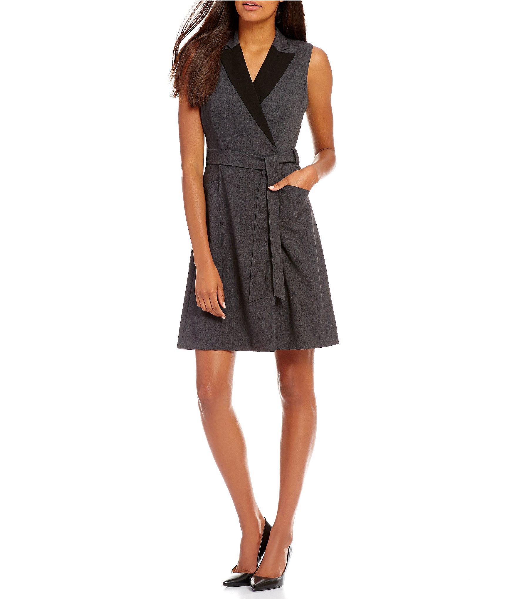 calvin klein faux wrap belted dress dillards