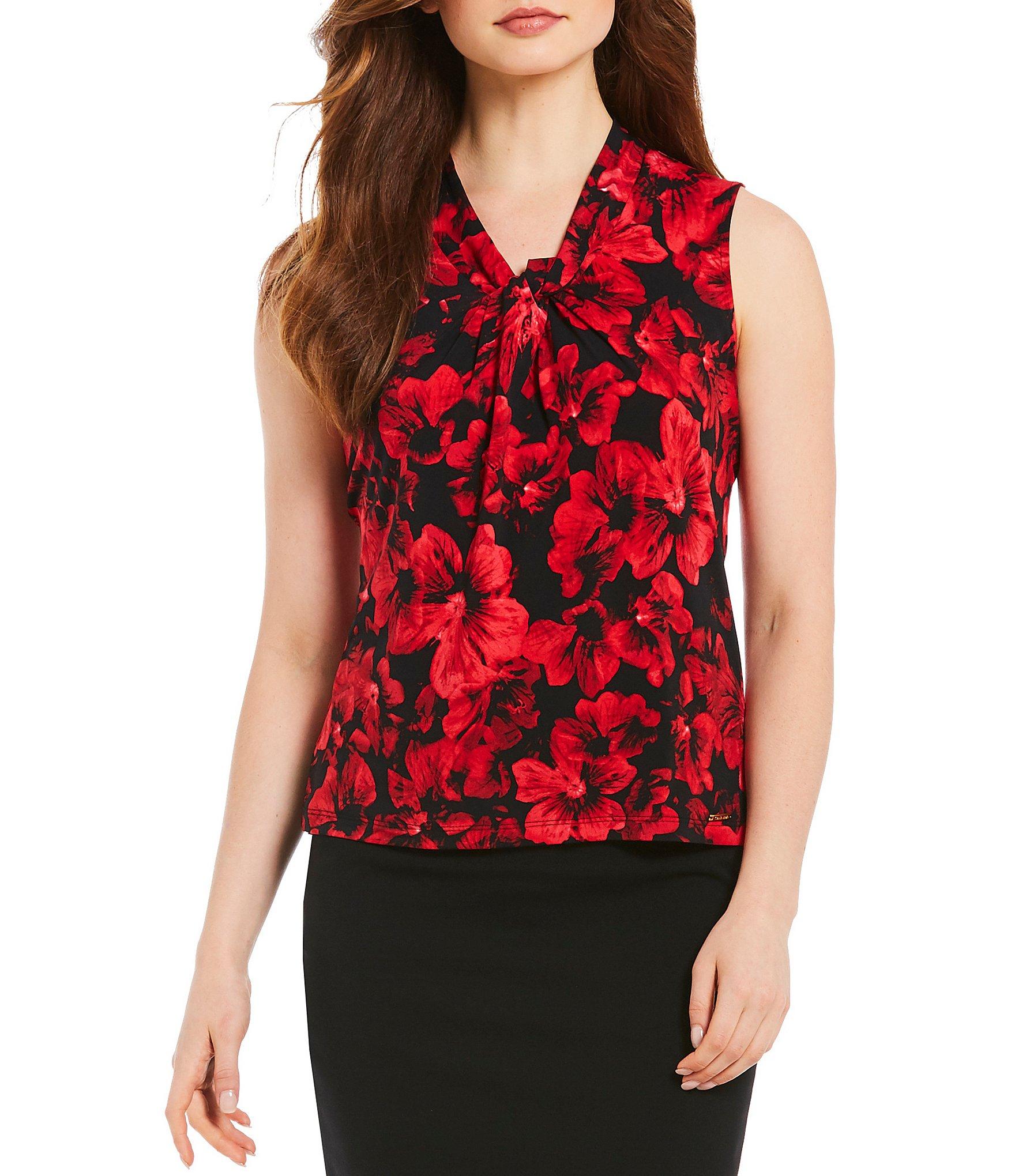 Pay Shell Credit Card >> Calvin Klein Floral Print Matte Jersey V-Neck Shell | Dillards