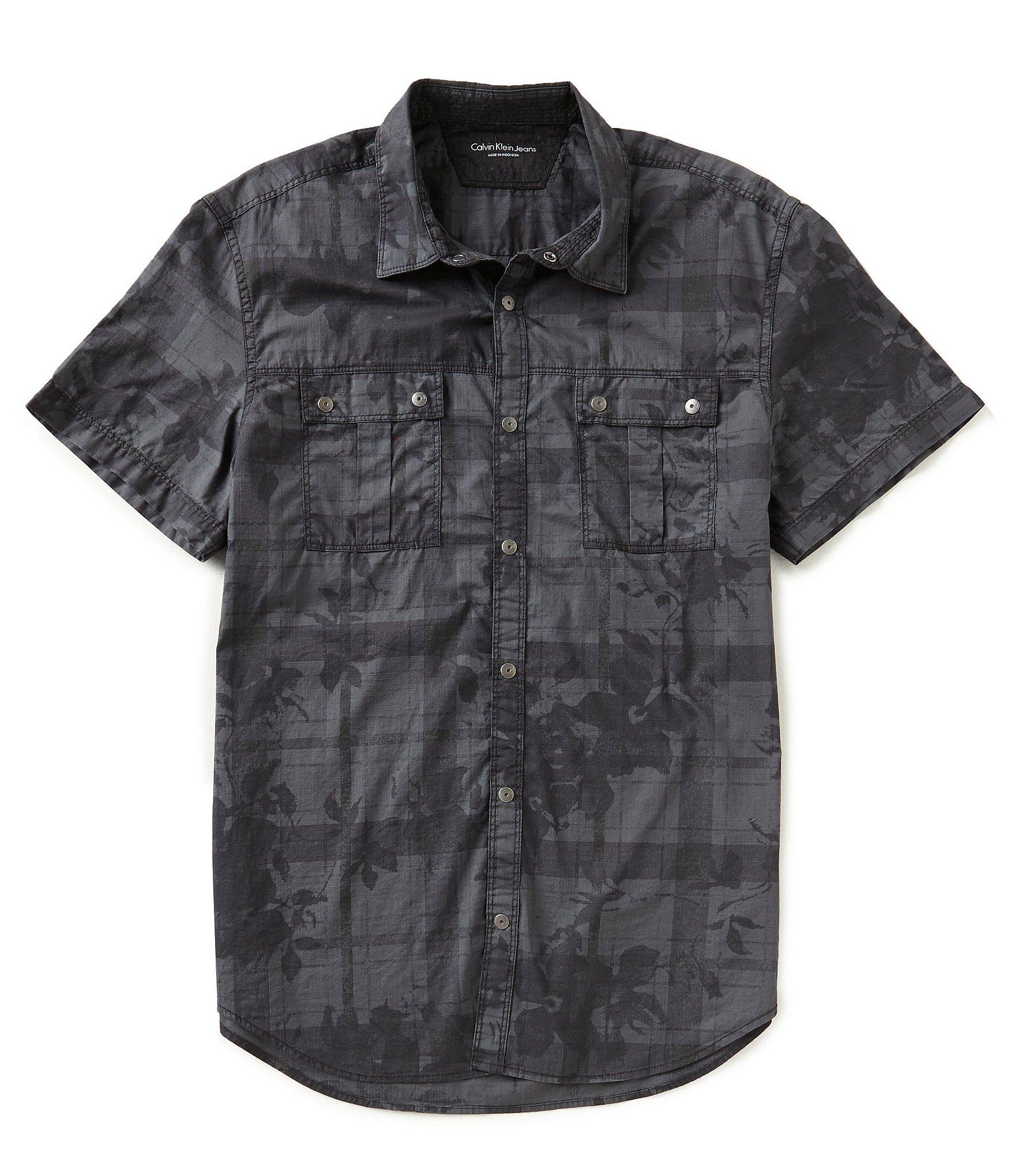 calvin klein jeans short sleeve floral plaid print shirt. Black Bedroom Furniture Sets. Home Design Ideas