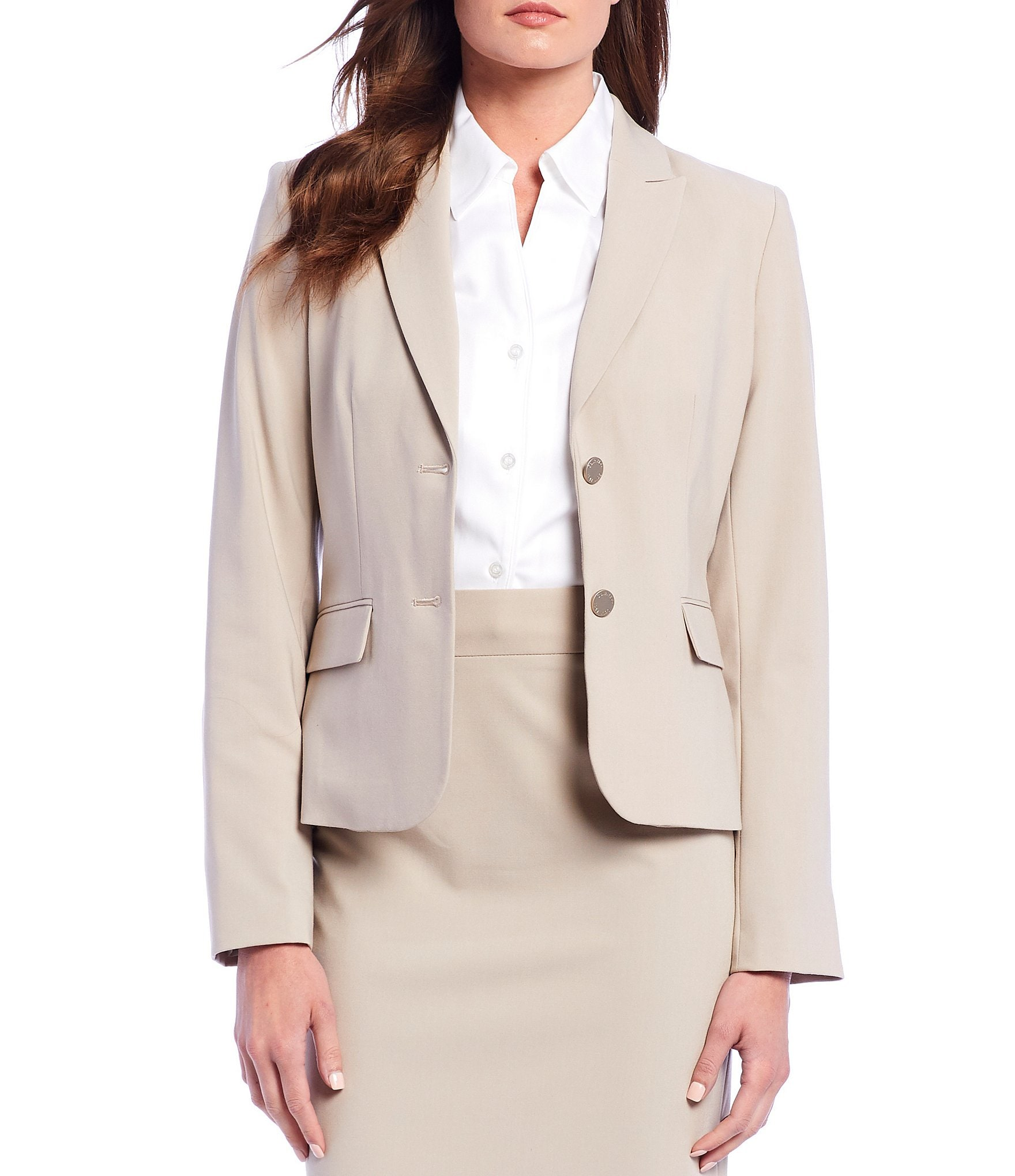 outlet boutique choose newest shop for Calvin Klein Petite Notch-Collar Jacket