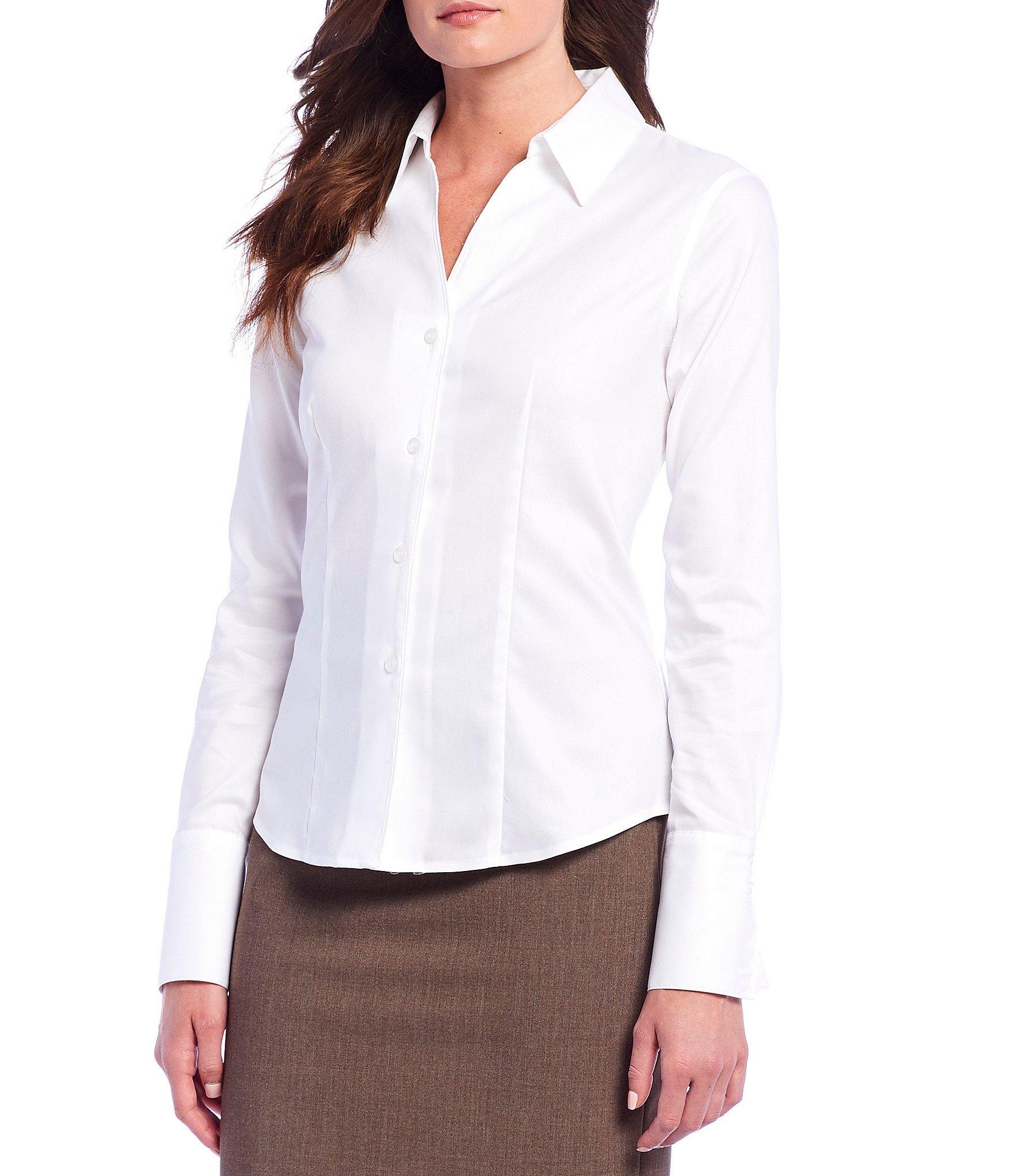 0432af927432e Petite Long-Sleeve Blouses