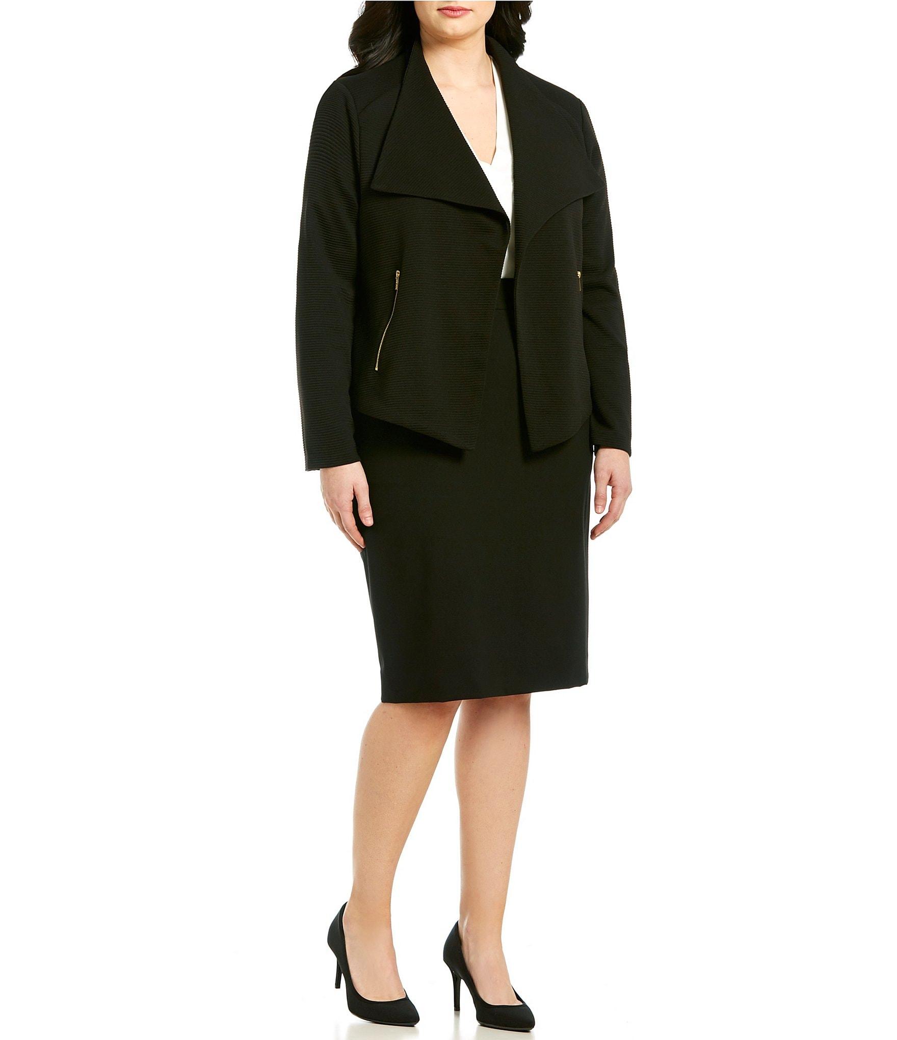 Calvin Klein Plus Size Textured Knit Flyaway Jacket & Pencil Skirt