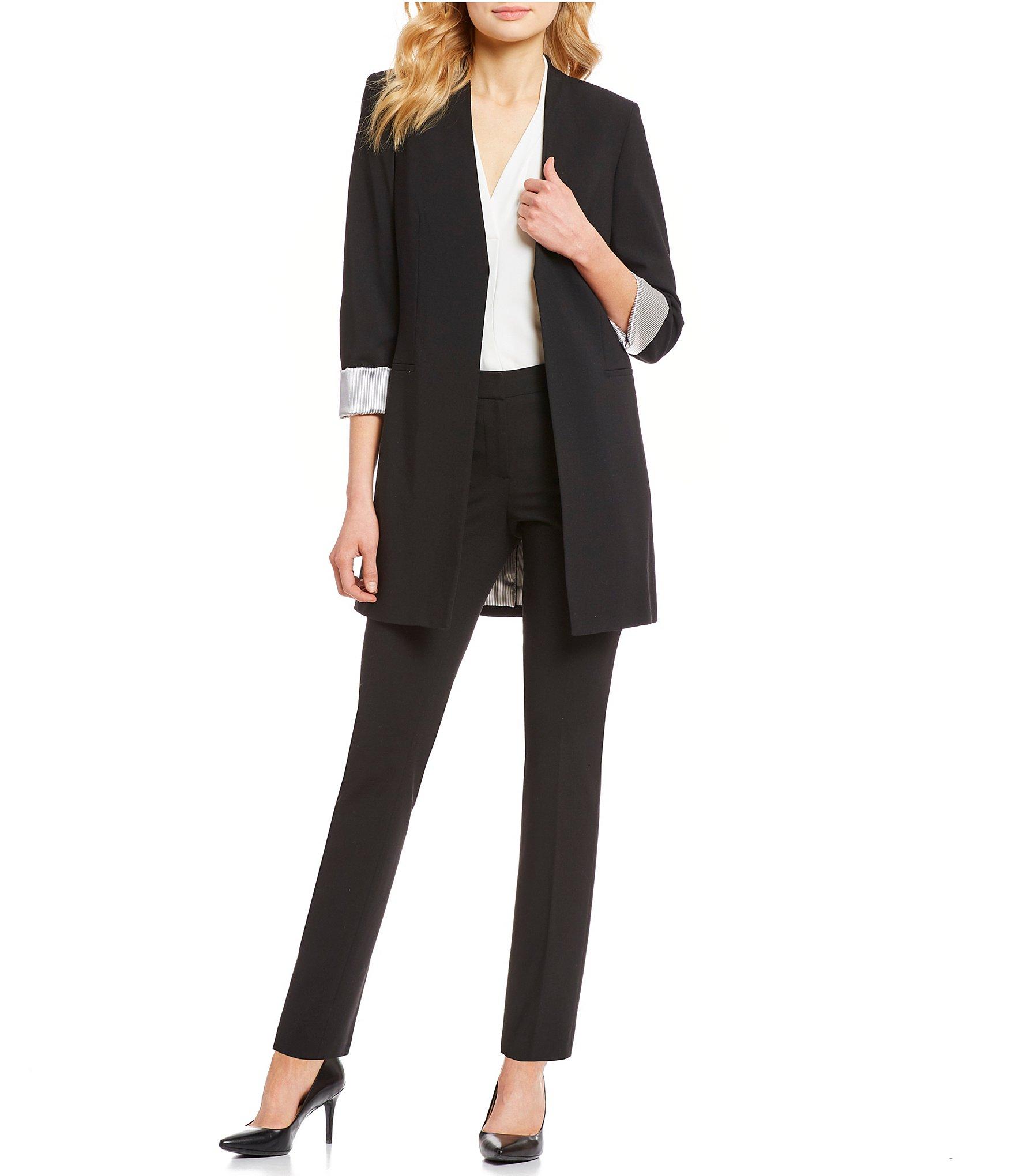 42c471001c020 Calvin Klein Satin Stripe Roll Cuff Long Open Front Jacket & Luxe Stretch  Slim Leg Pants