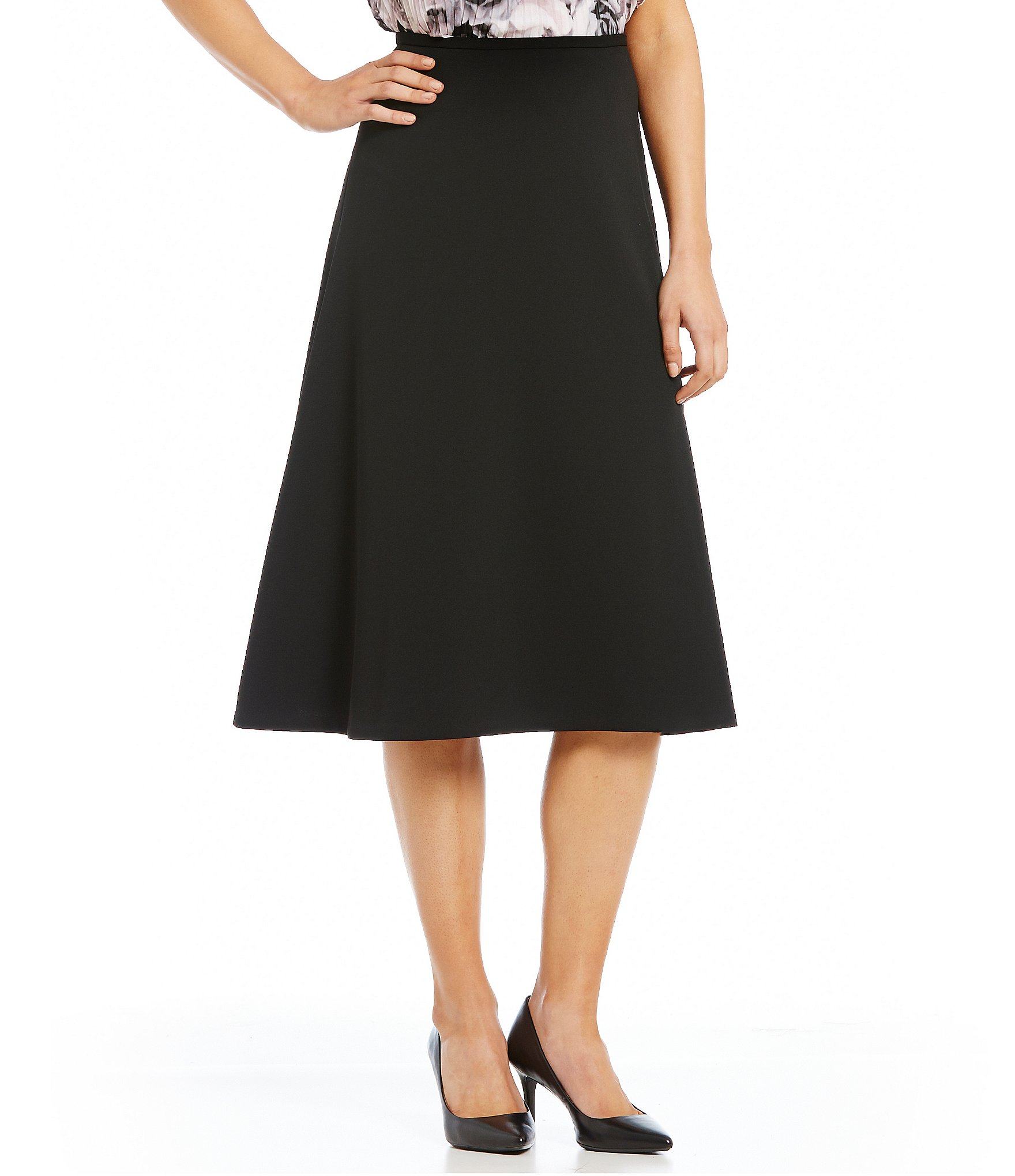 Calvin Klein Scuba Crepe MIdi A-Line Skirt | Dillards