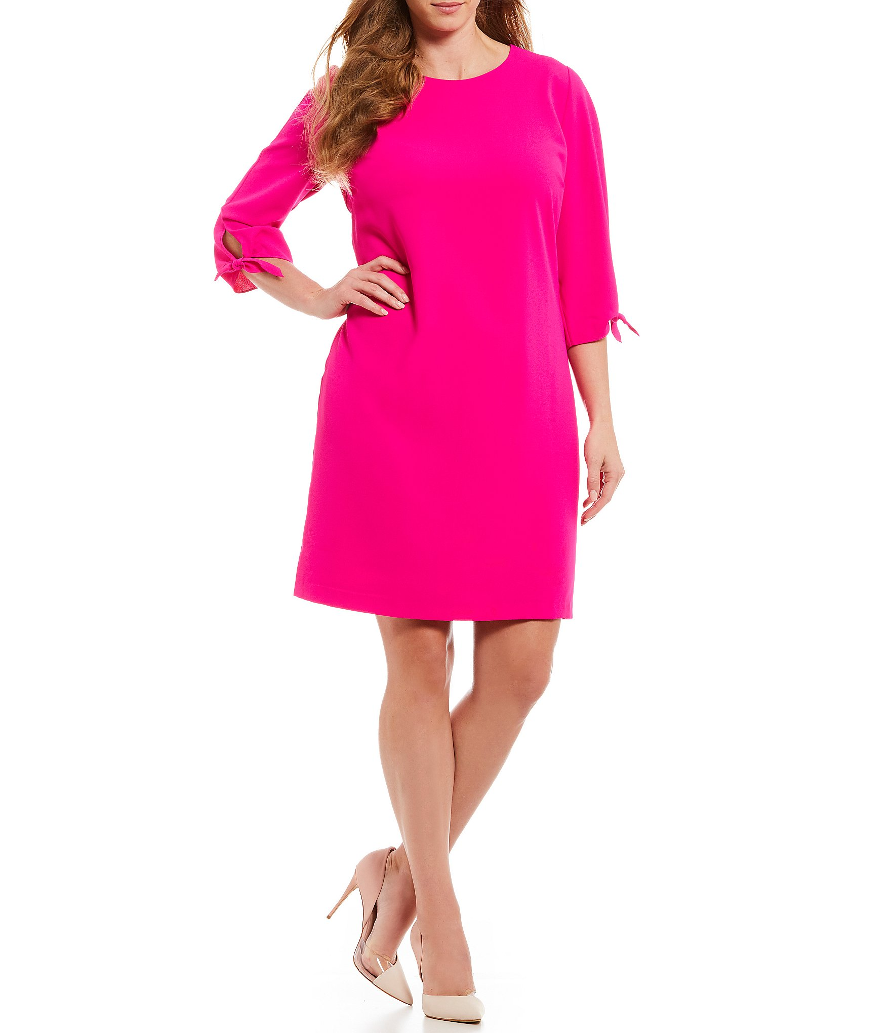 CeCe Plus Size Tie Sleeve Shift Dress