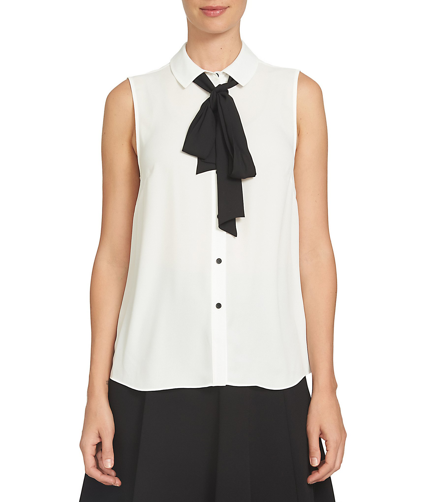 Circle Track Supply >> CeCe Tie Detail Point Collar Sleeveless Blouse | Dillards