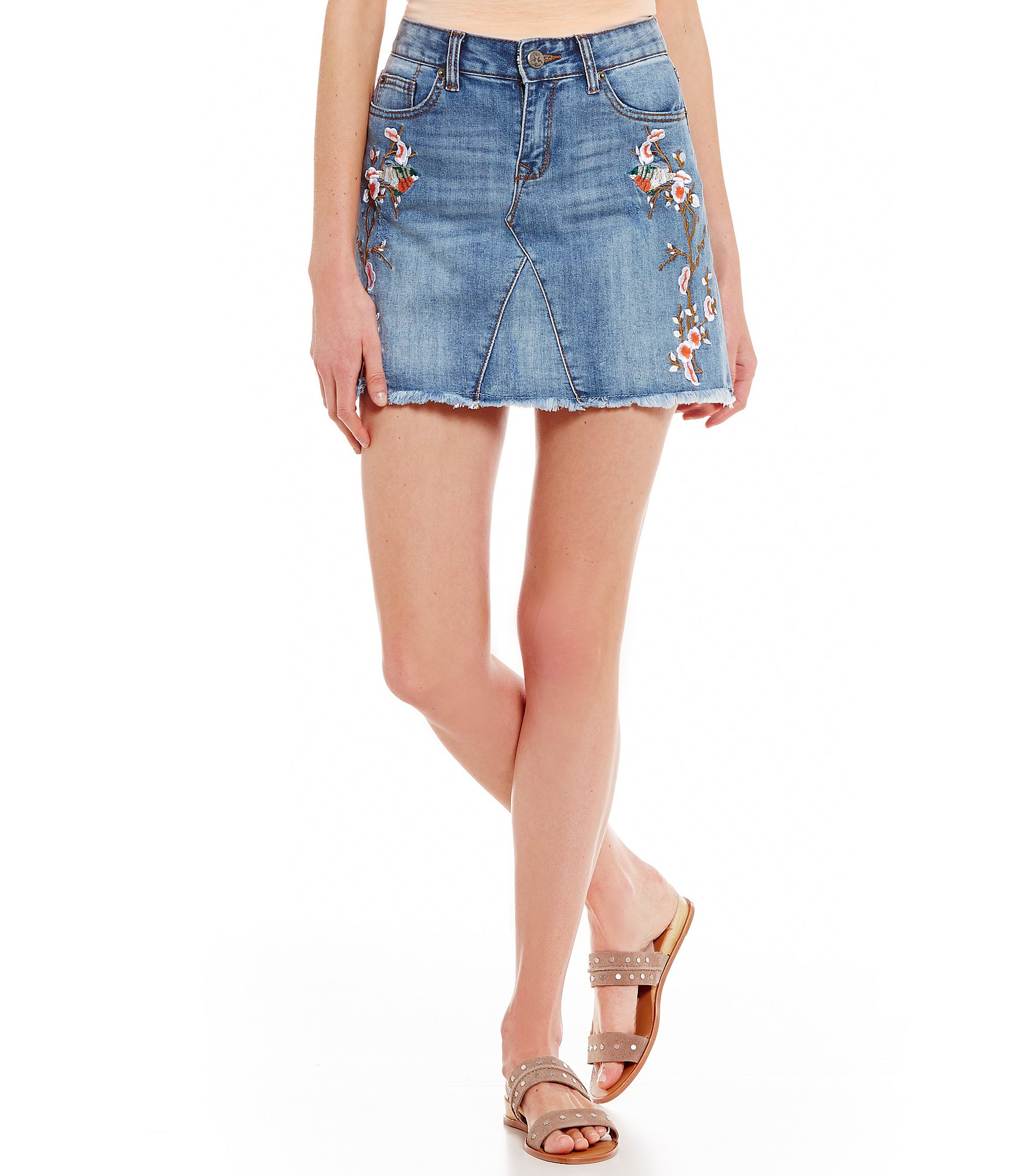 Chelsea & Violet Floral Embroidered Denim Skirt | Dillards